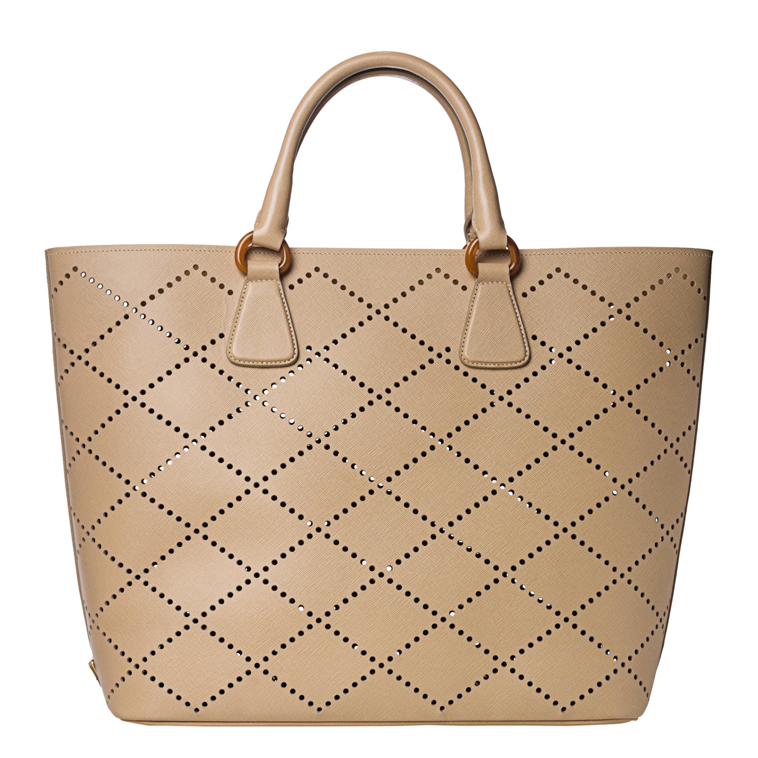 4be49381f21572 ... authentic prada large beige perforated saffiano leather tote bag ed6ac  298e1