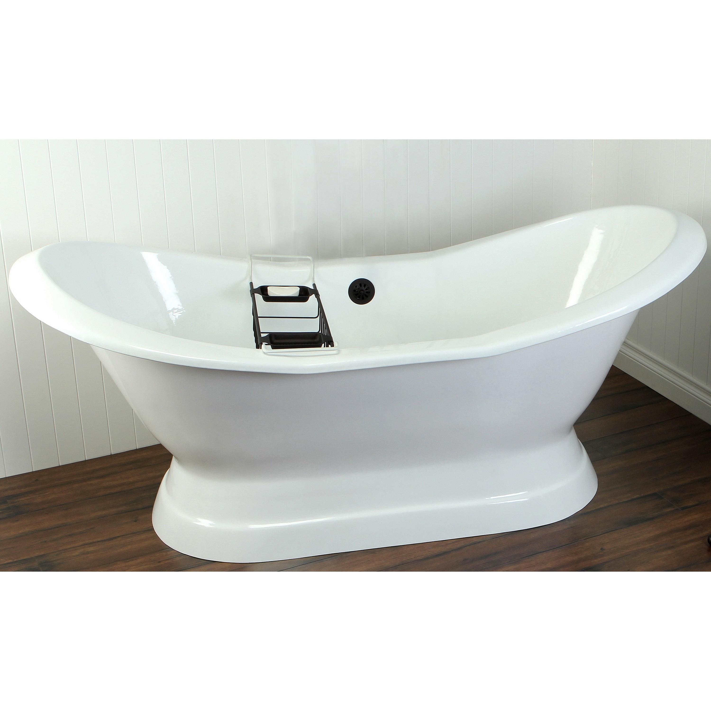 Shop Double Slipper Cast Iron 72-inch Pedestal Bathtub - Free ...