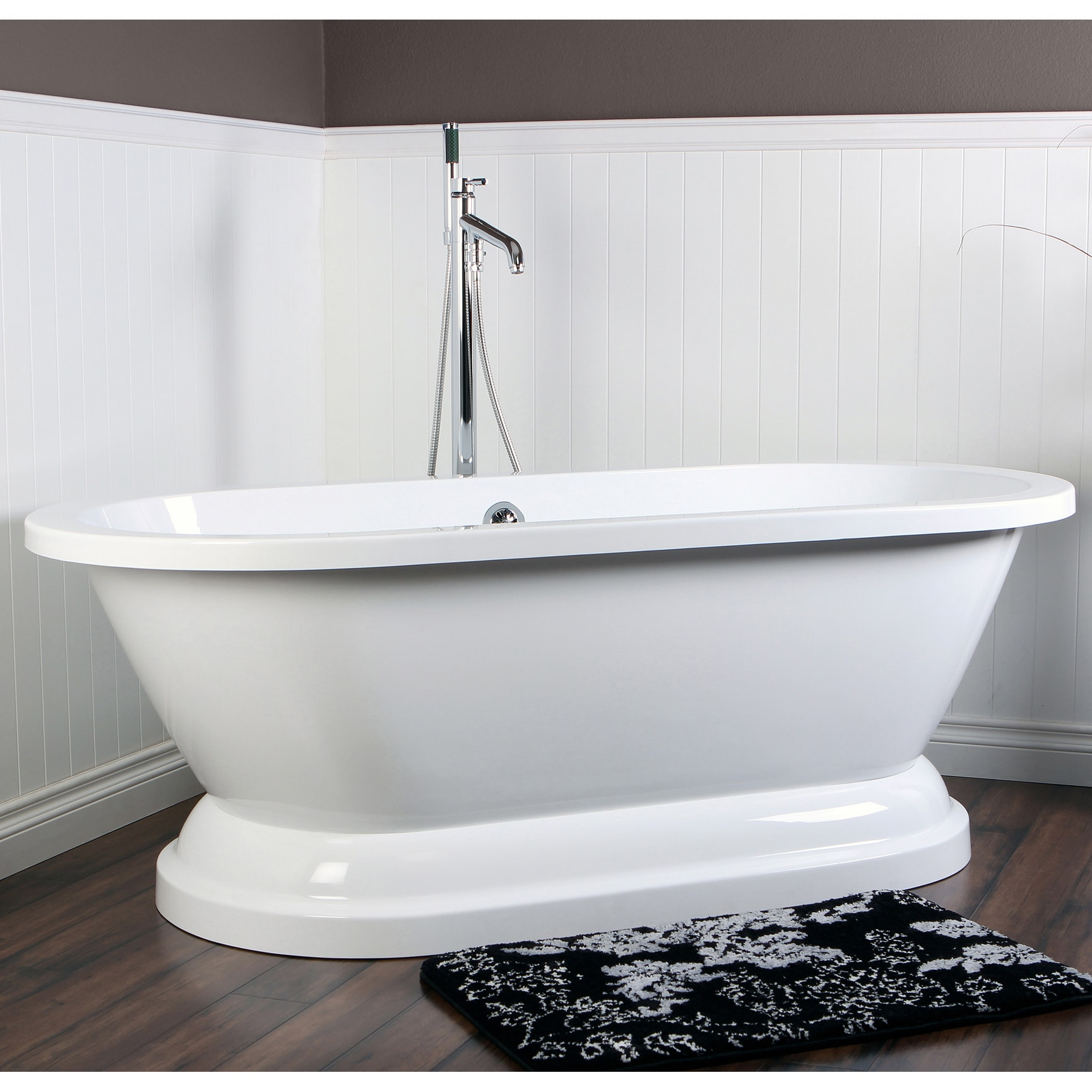 Contemporary Double Ended 67 Inch Acrylic Pedestal Bathtub   Free Shipping  Today   Overstock.com   15369976