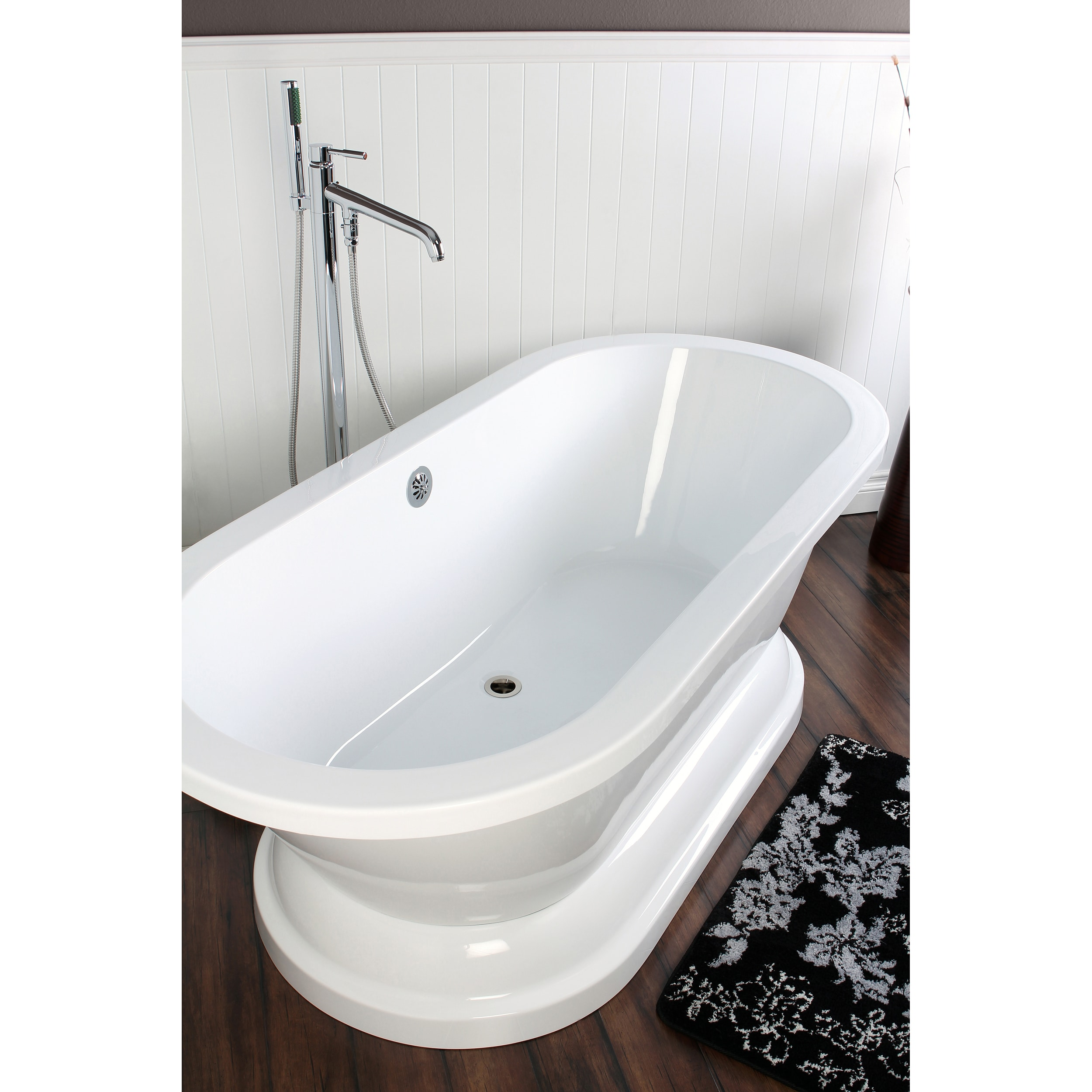 Shop Contemporary Double-ended 67-inch Acrylic Pedestal Bathtub ...