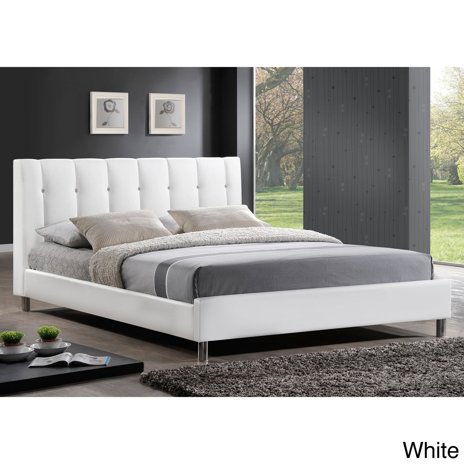 Shop Baxton Studio Vino White Modern Bed With Upholstered Headboard