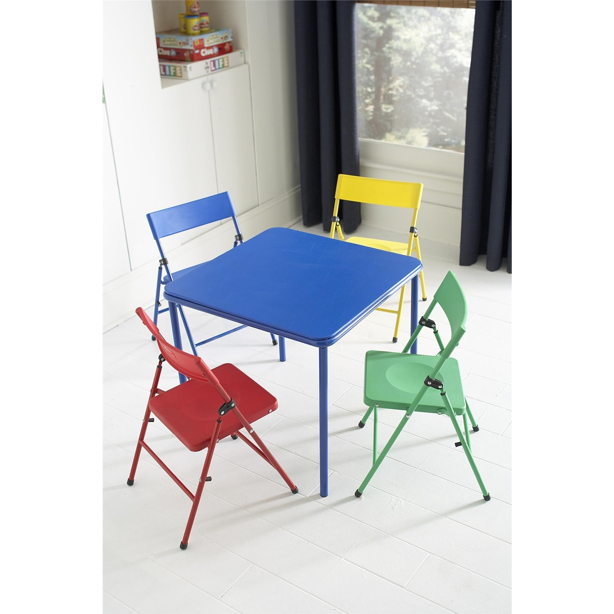 Cosco Kid s 5 piece Colored Folding Chair and Table Set Free