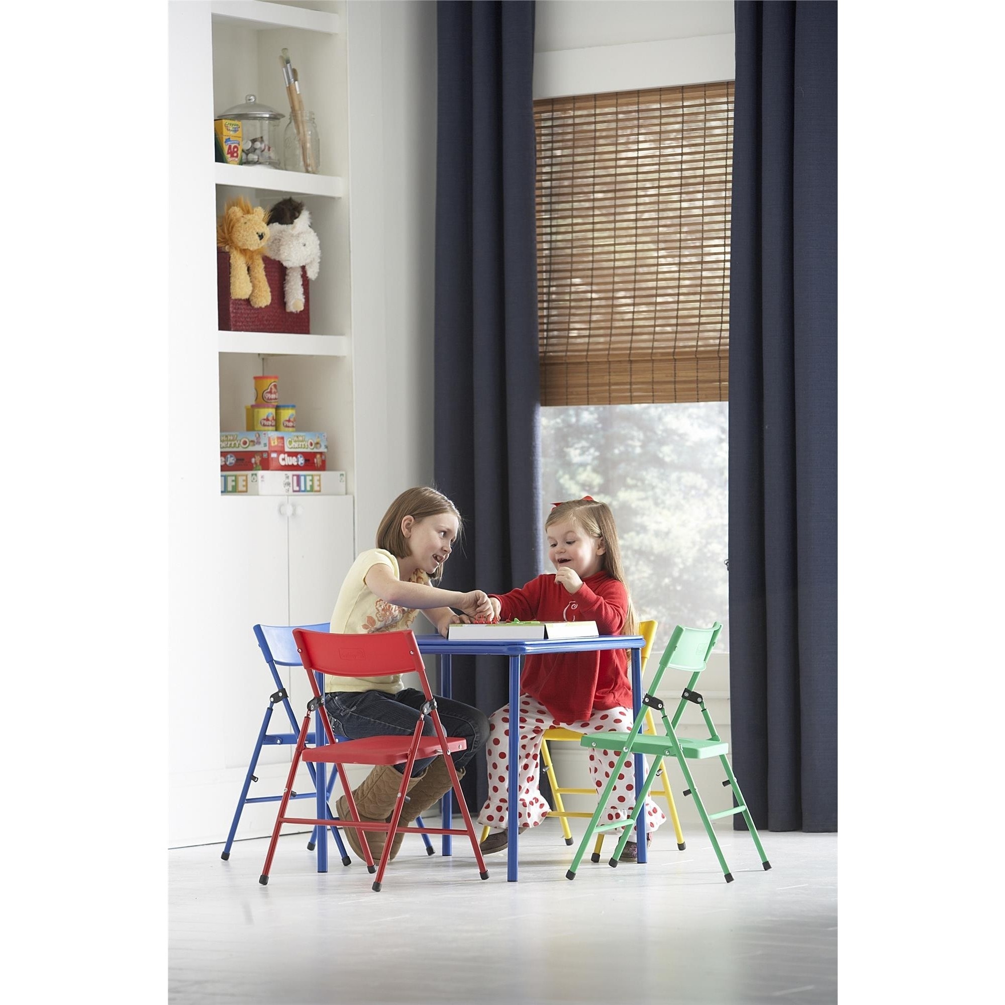 Shop Cosco Kid\'s 5-piece Colored Folding Chair and Table Set - Free ...