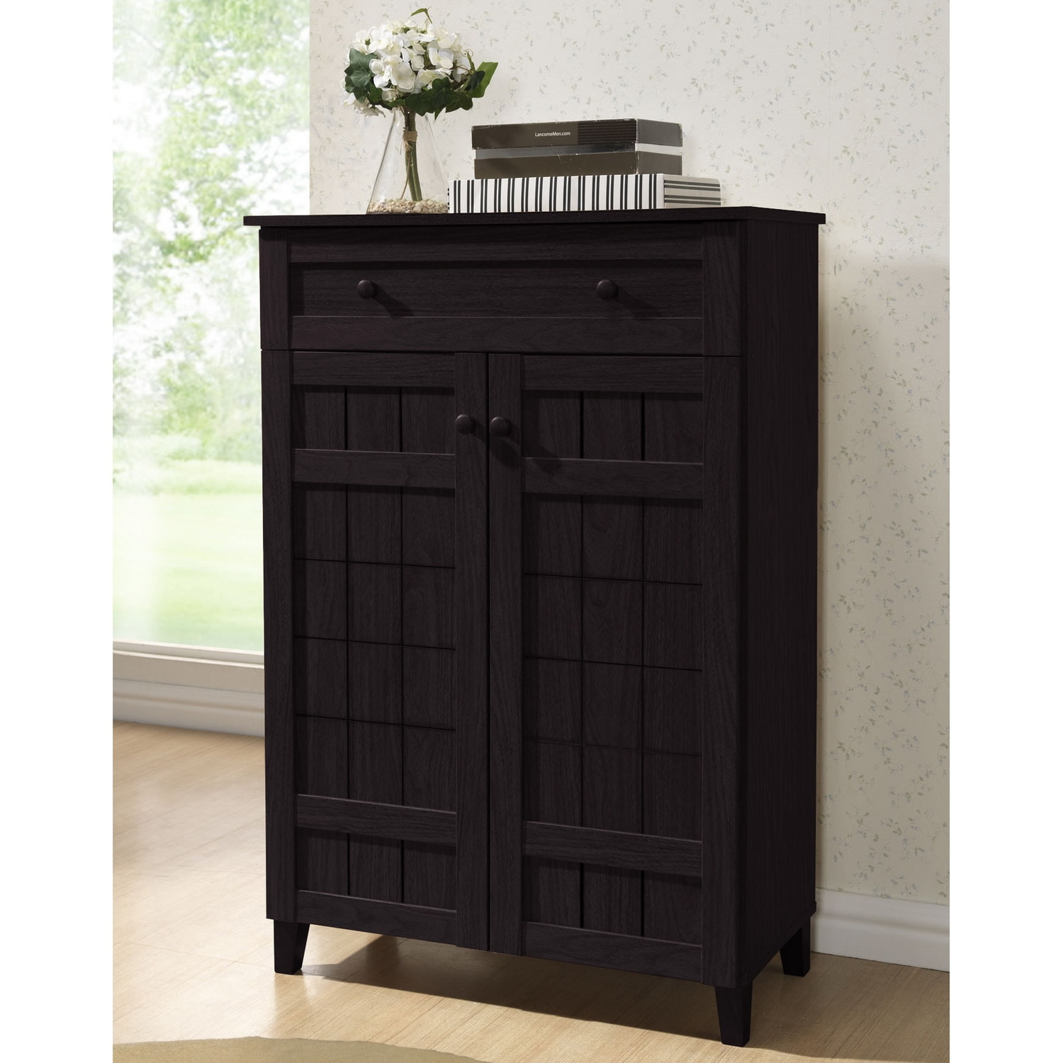 Exceptional Baxton Studio Glidden Dark Brown Wood Shoe Cabinet   Free Shipping Today    Overstock.com   15374461