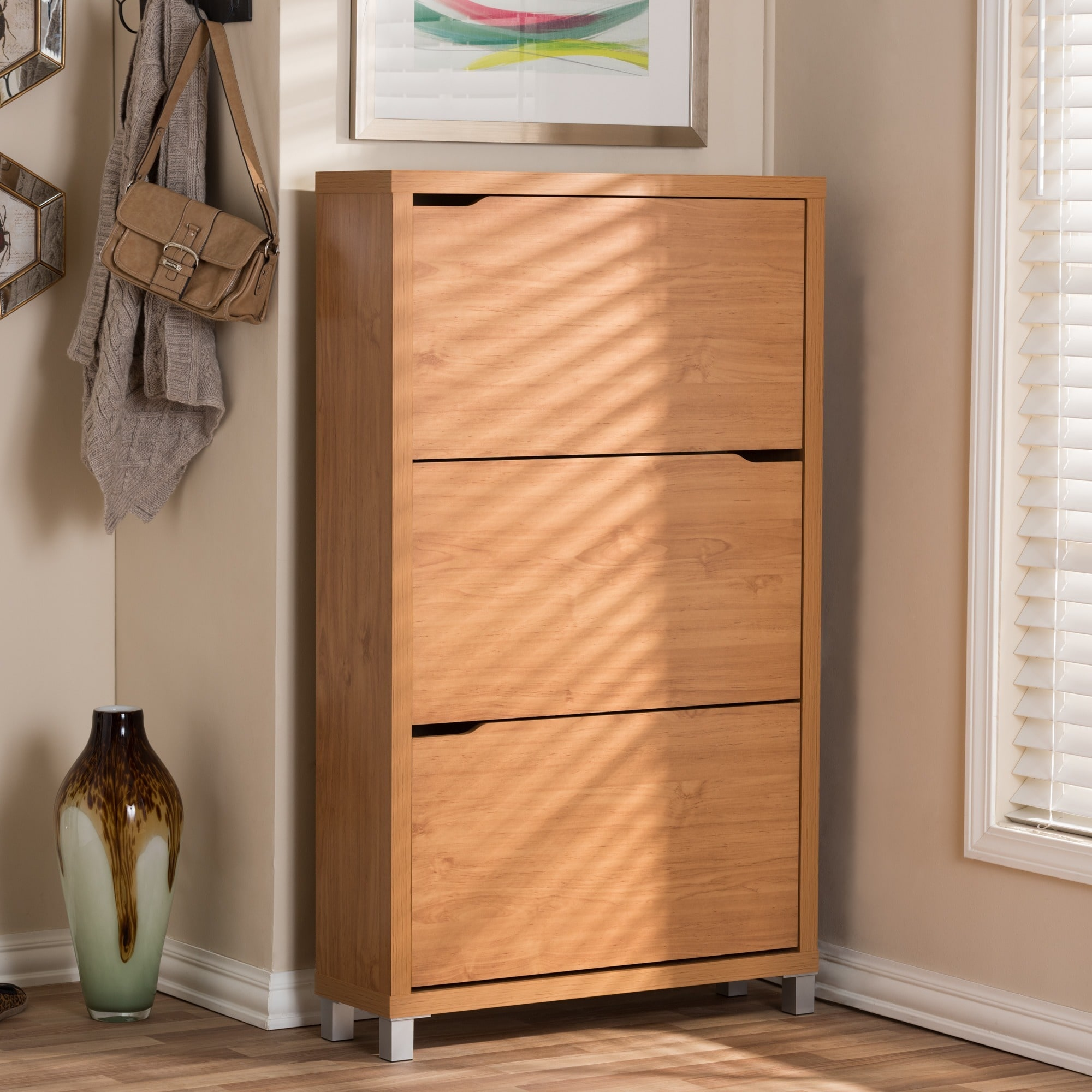 Shop Baxton Studio Simms Modern White Shoe Cabinet   Free Shipping Today    Overstock.com   8009734