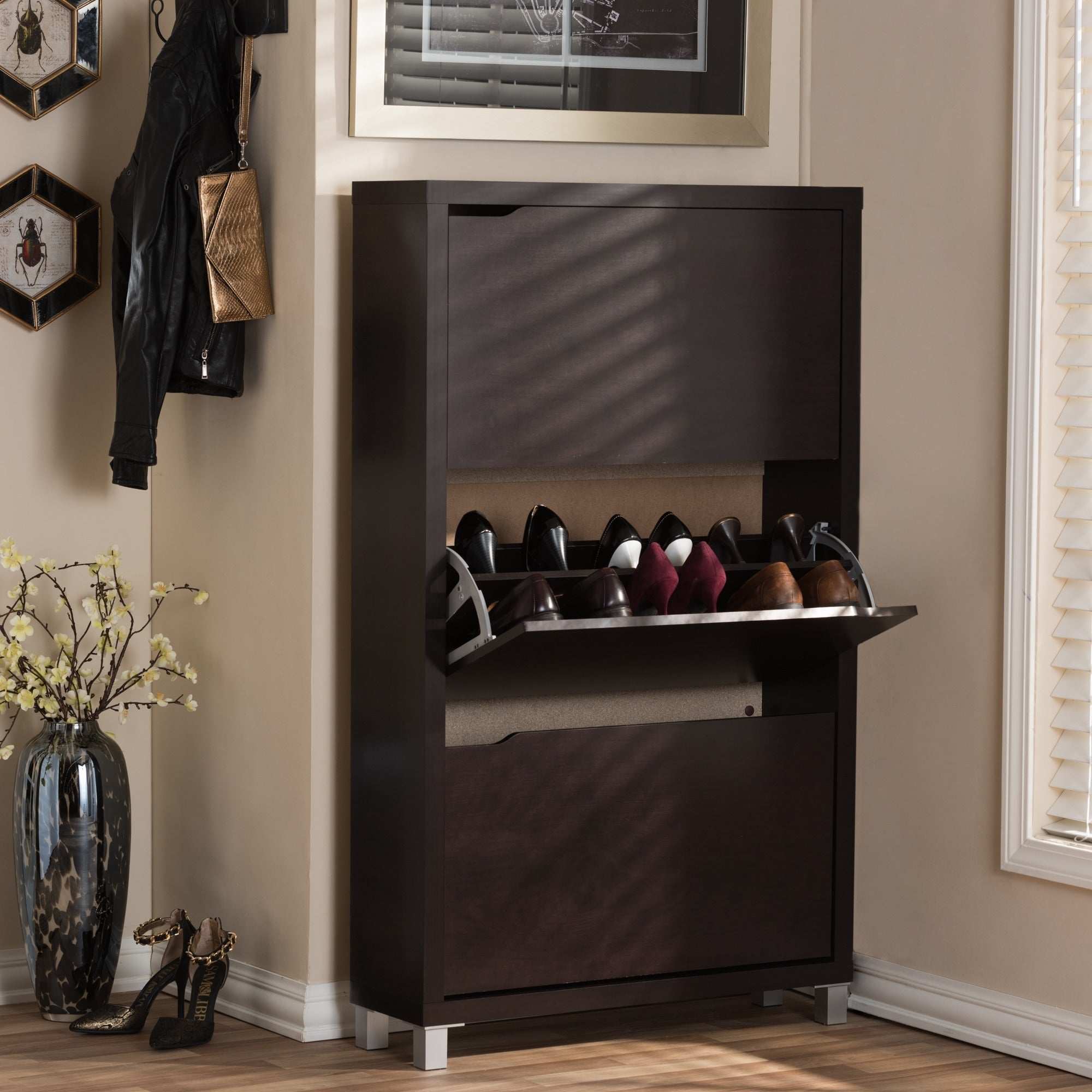 simms white modern shoe cabinet  free shipping today  overstockcom . simms white modern shoe cabinet  free shipping today  overstock