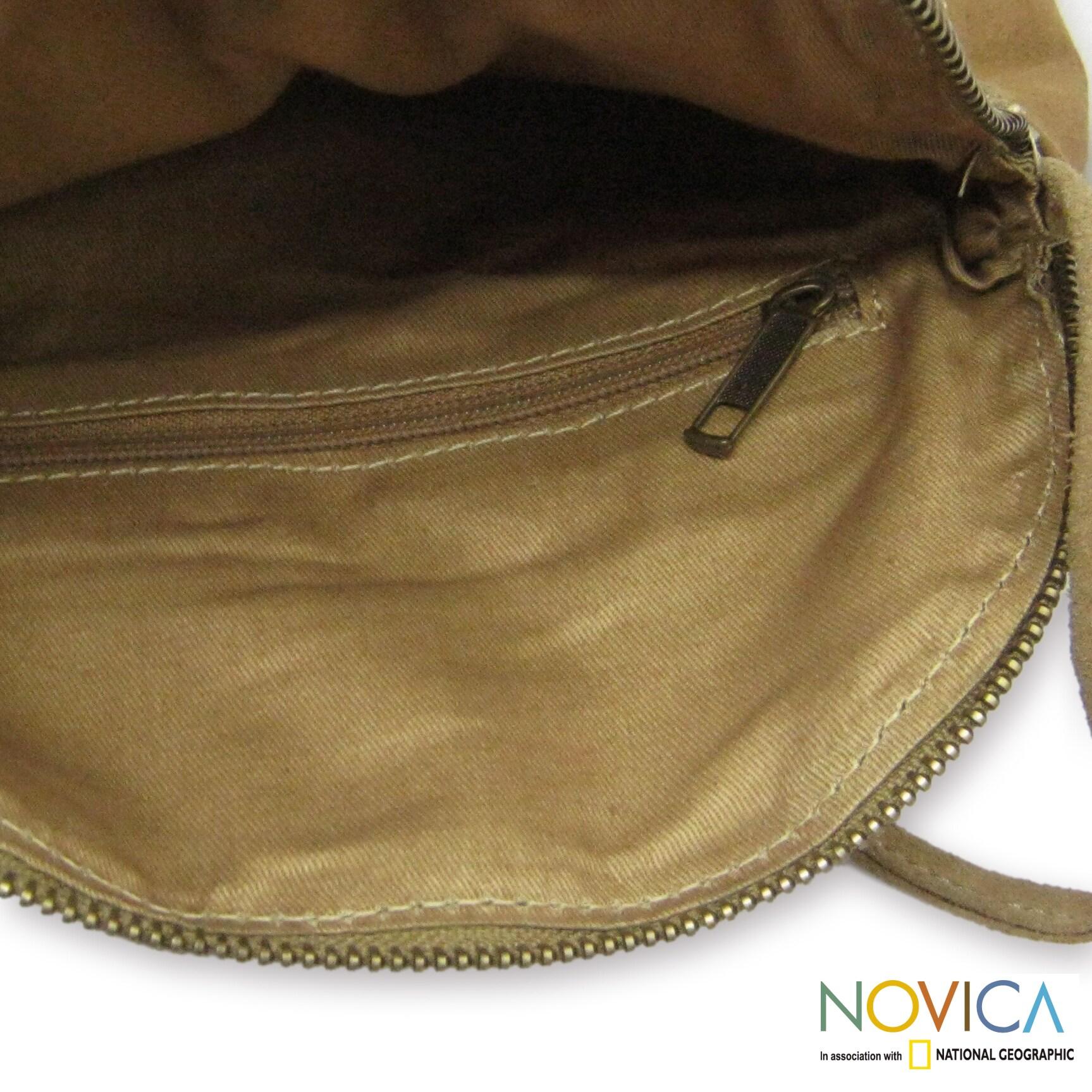 Novica Suede shoulder bag, Sands of Thar - Indian Suede Shoulder Bag