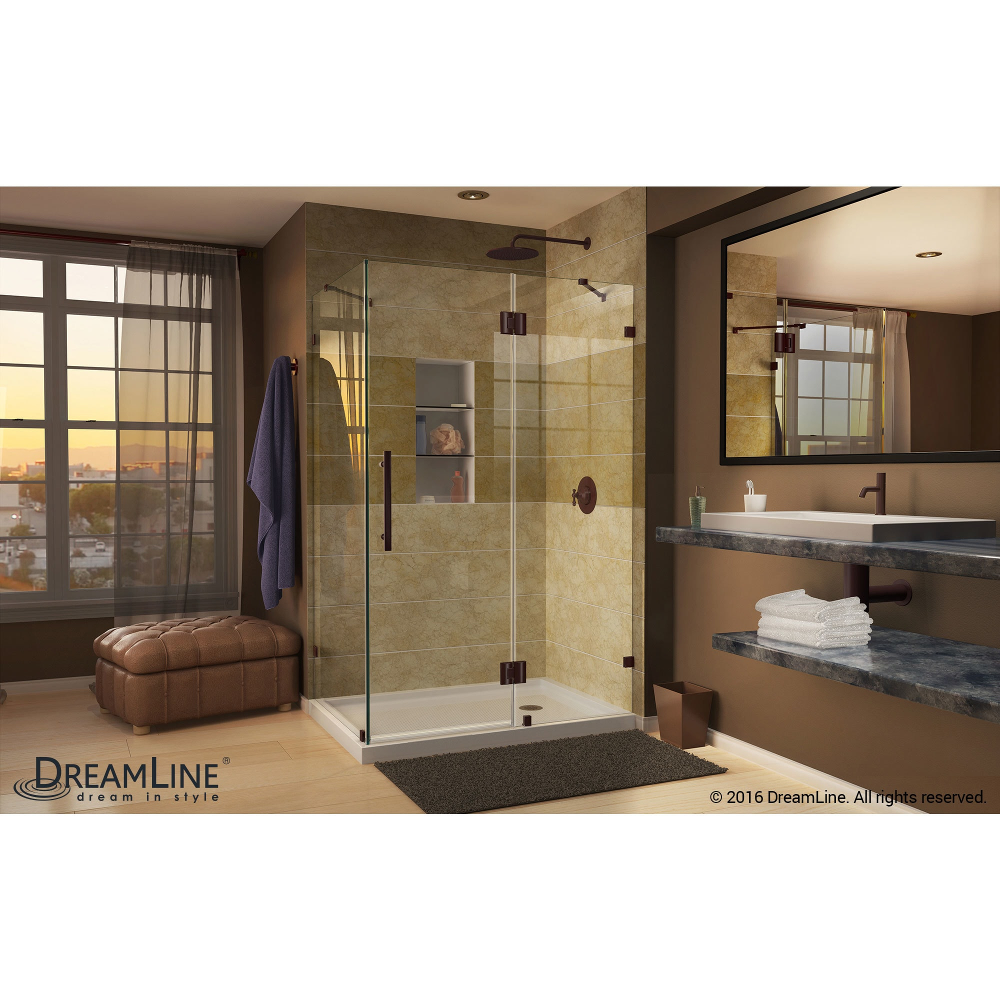 Shop DreamLine Quatra Lux 32 1/4 in. by 46 5/16 in. Frameless Hinged ...
