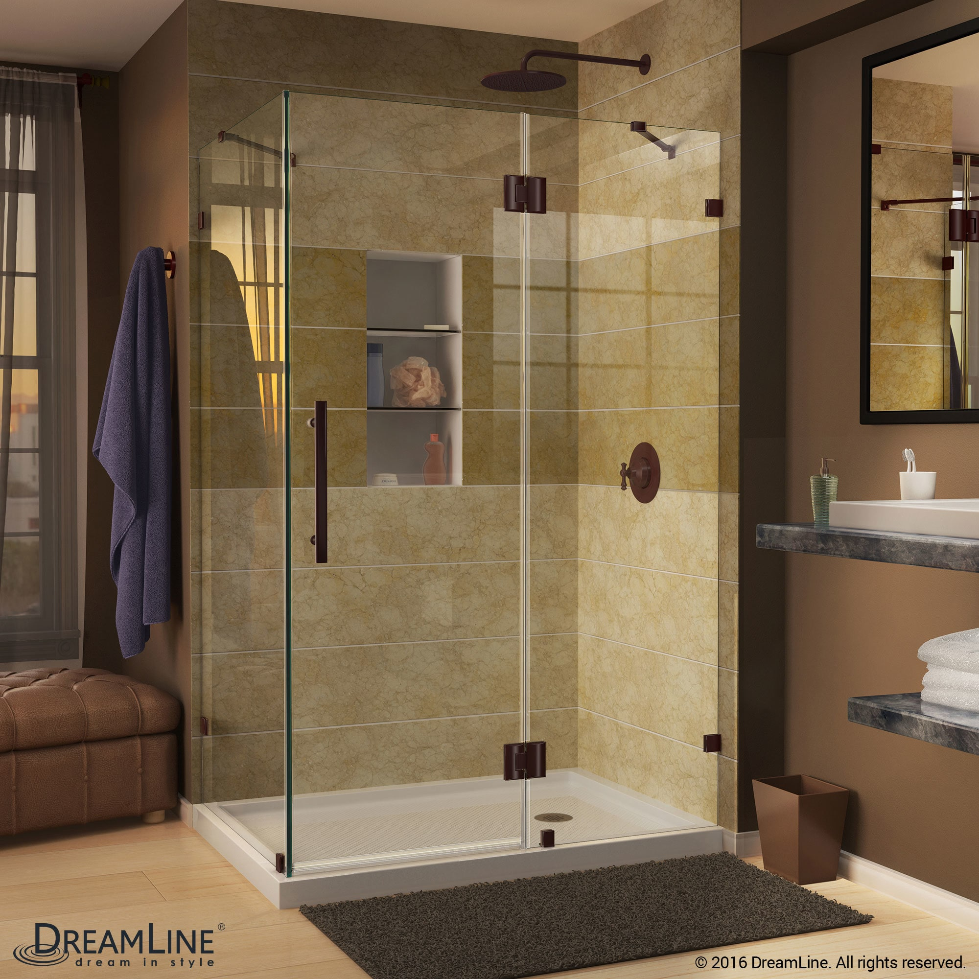 Shop DreamLine Quatra Lux 34 5/16 in. by 46 5/16 in. Frameless ...