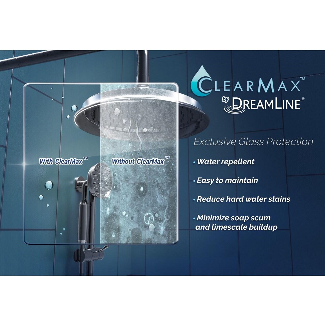 DreamLine Elegance 42 1/2 to 44 1/2 in. Frameless Pivot Shower Door ...