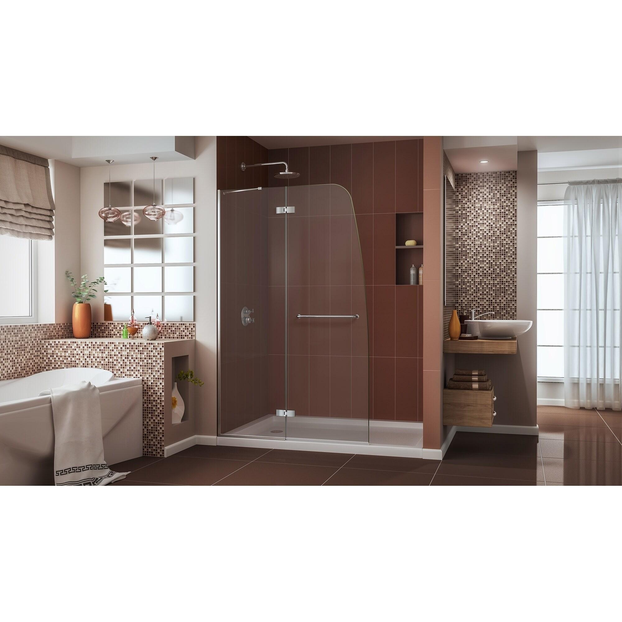 Shop DreamLine Aqua Ultra 45 in. Frameless Hinged Shower Door - Free ...