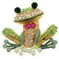 Goldtone Multi-colored Crystal Frog Brooch