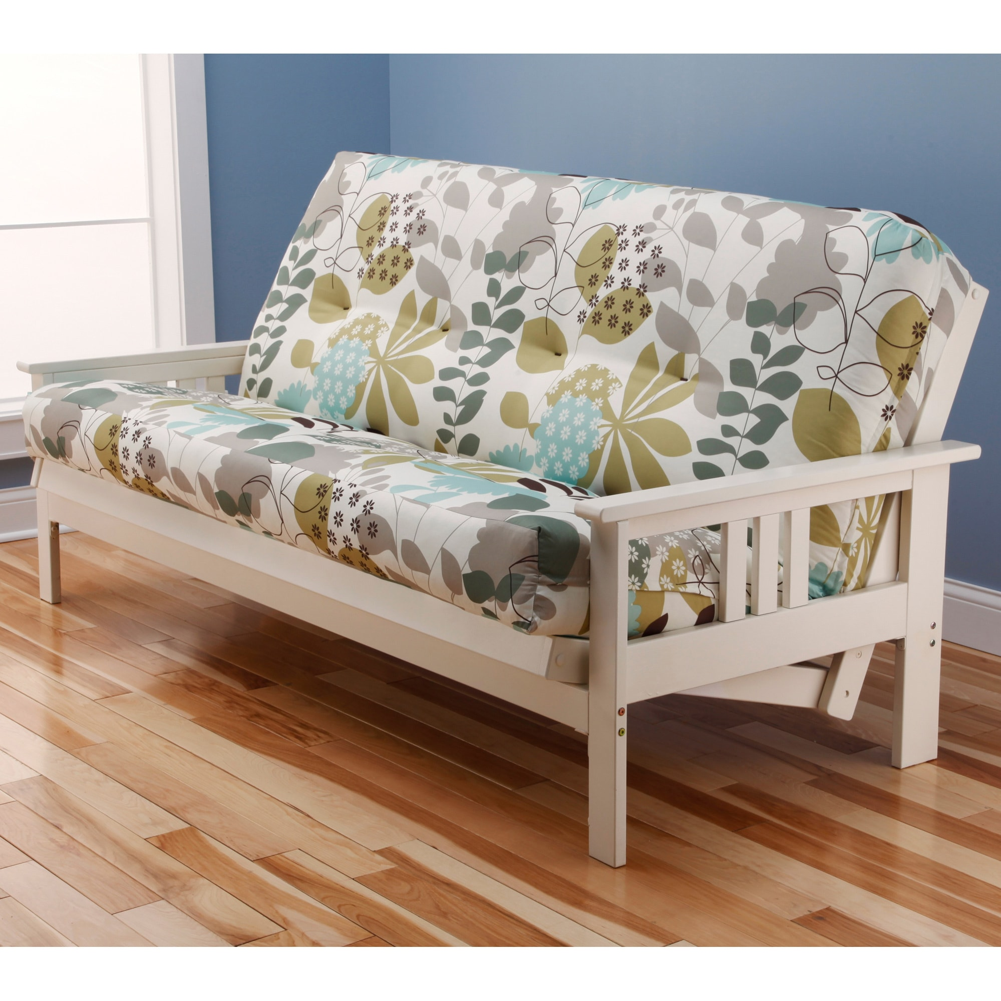 Clay Alder Home Mark Antique White Wood Futon Frame With Innerspring Mattress Free Shipping Today Com 8016469