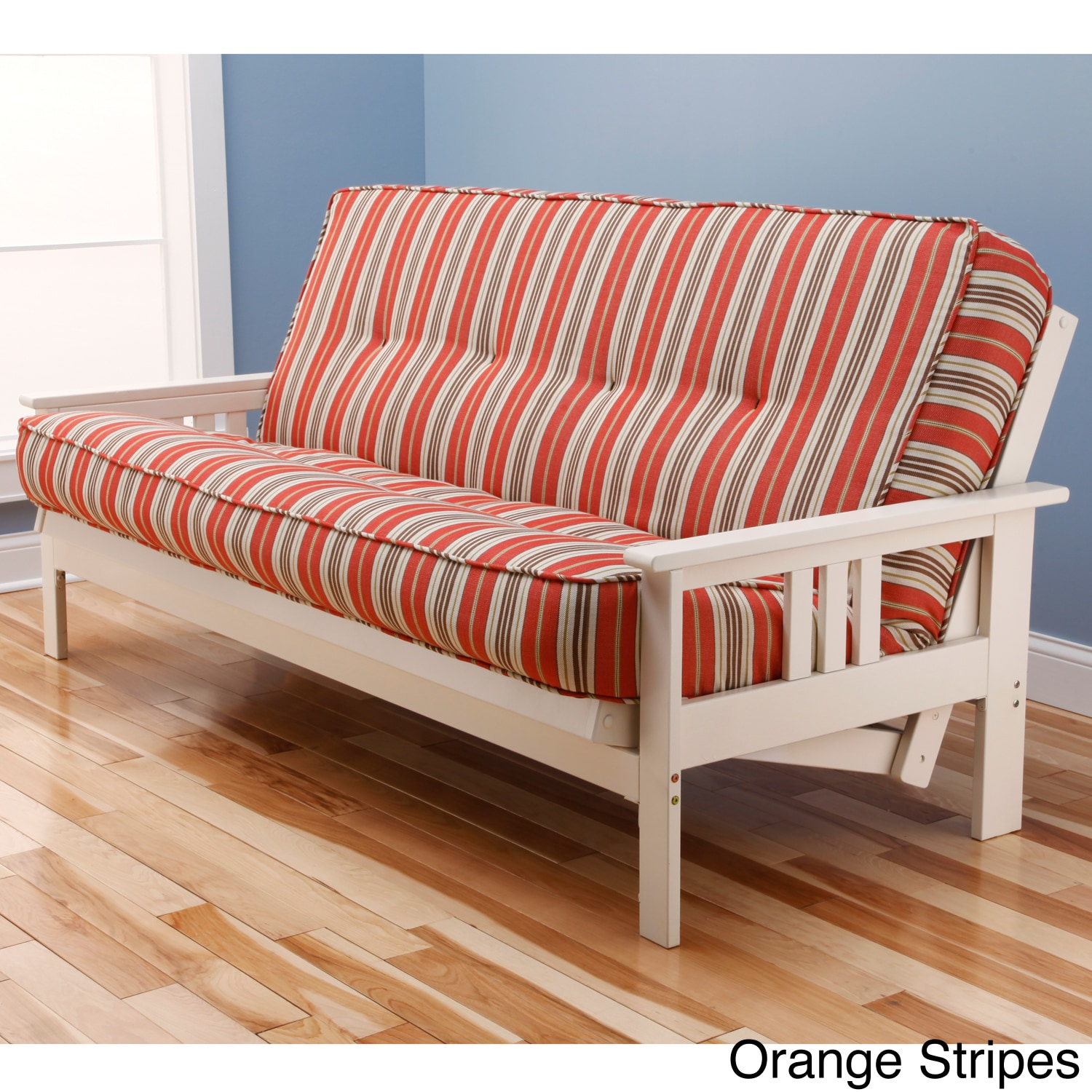 Somette Beli Mont Multi Flex Antique White Wood Futon Frame with