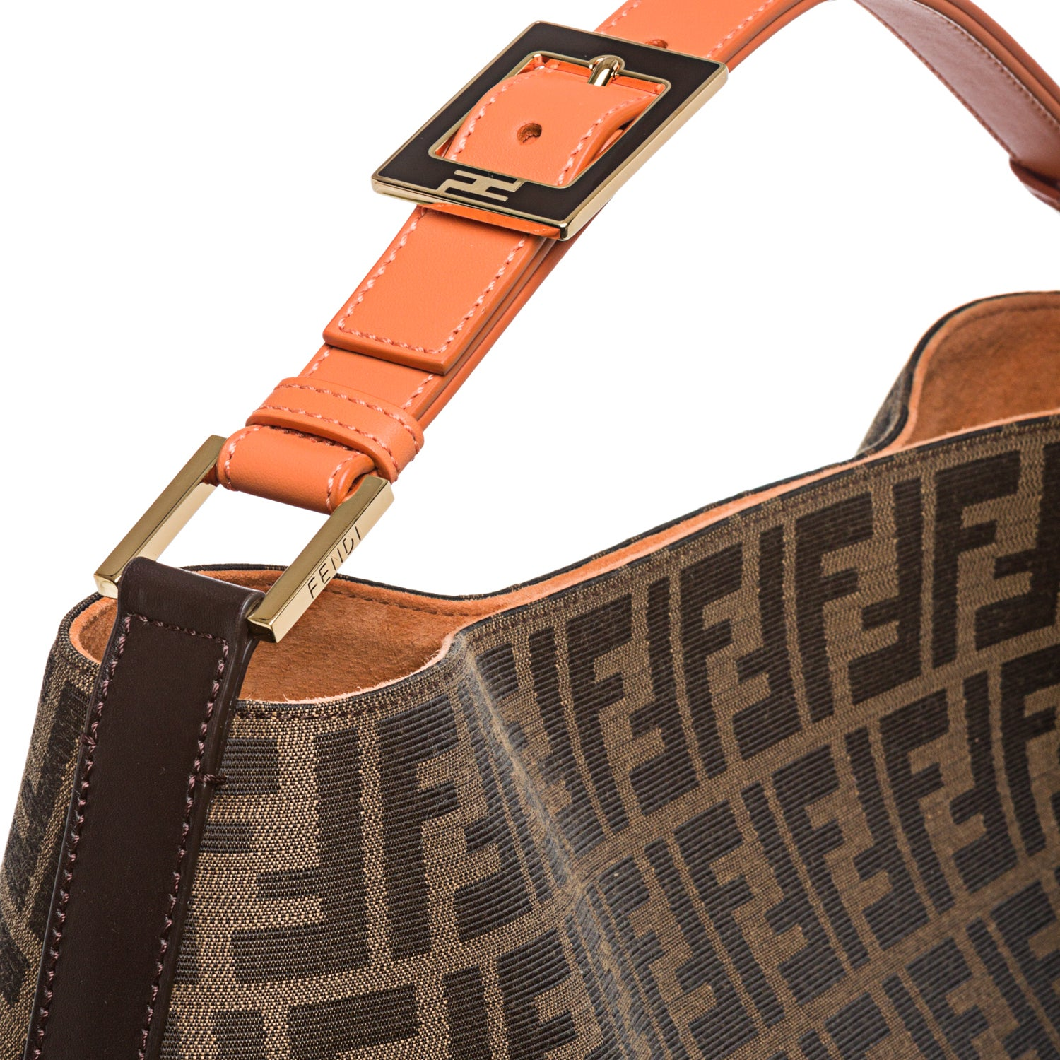 1ba64e7d25 ... discount code for shop fendi zucca jacquard canvas orange leather hobo  bag free shipping today overstock ...