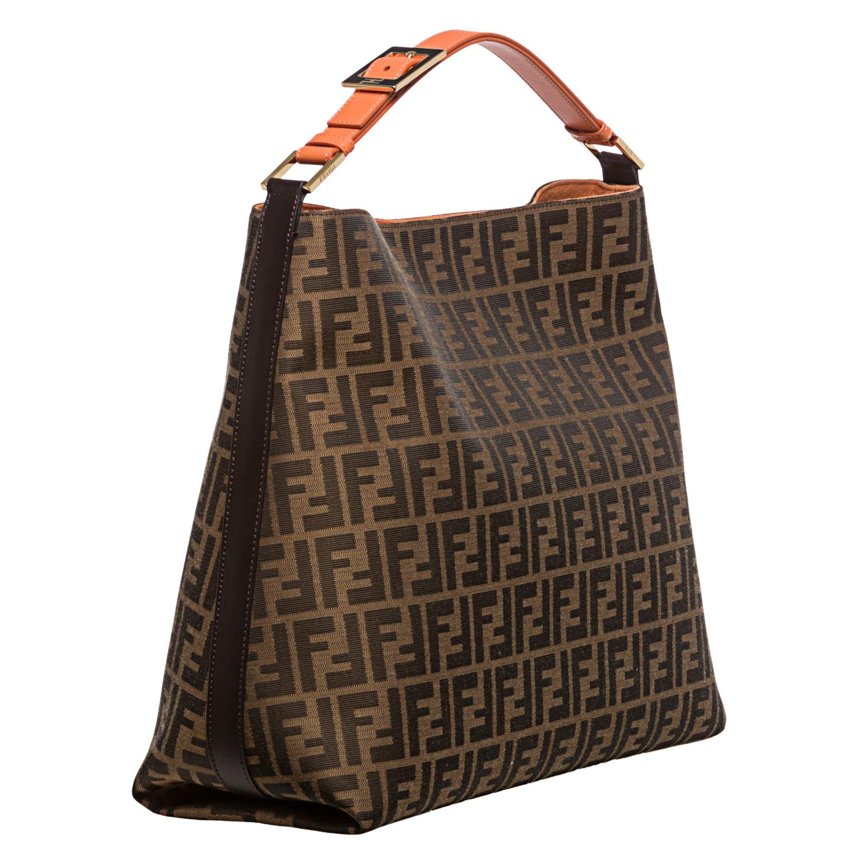 Fendi Zucca Jacquard Canvas Orange Leather Hobo Bag Free Shipping Today 8024930