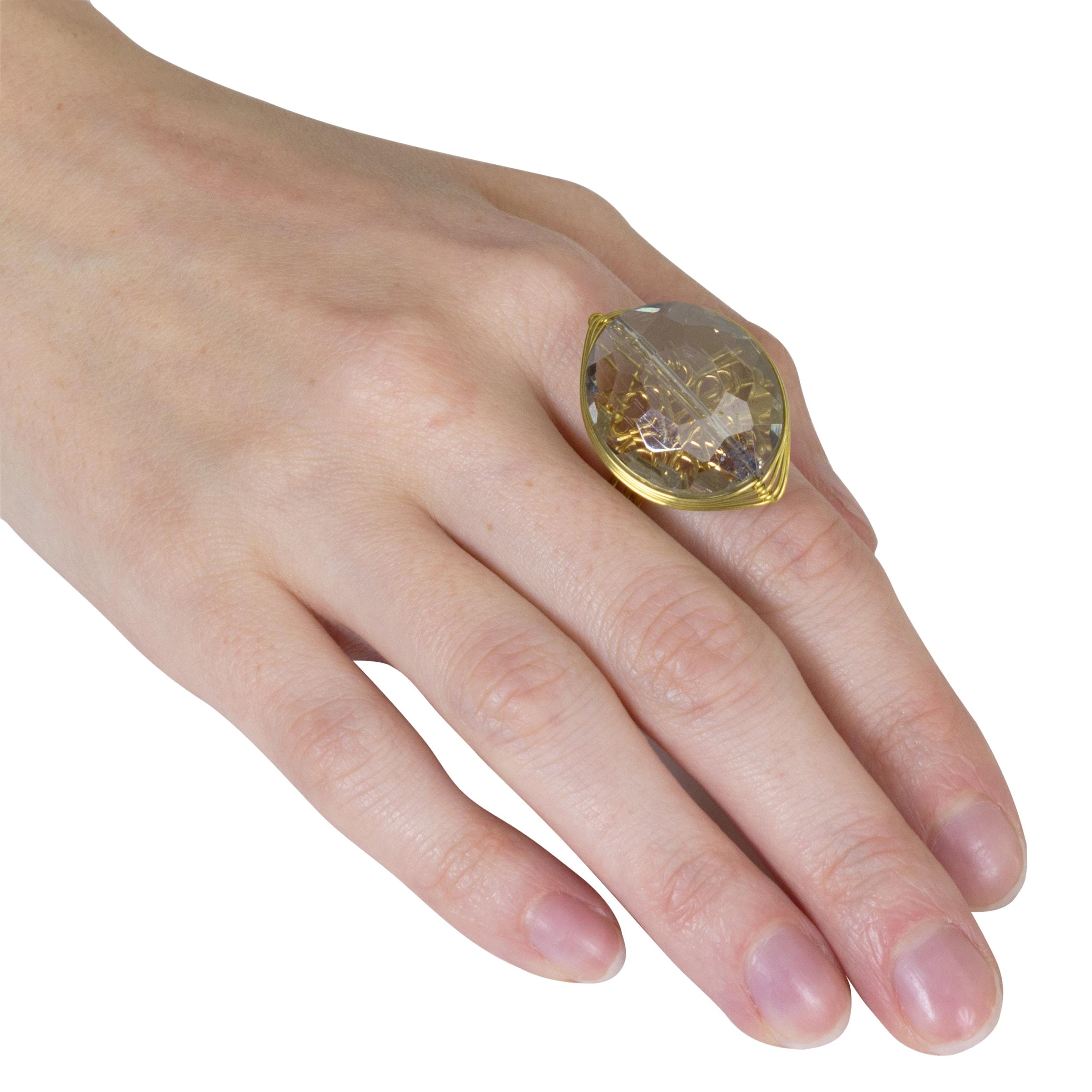 Shop NEXTE Jewelry Goldtone Smokey Crystal Open Back Ring - On Sale ...