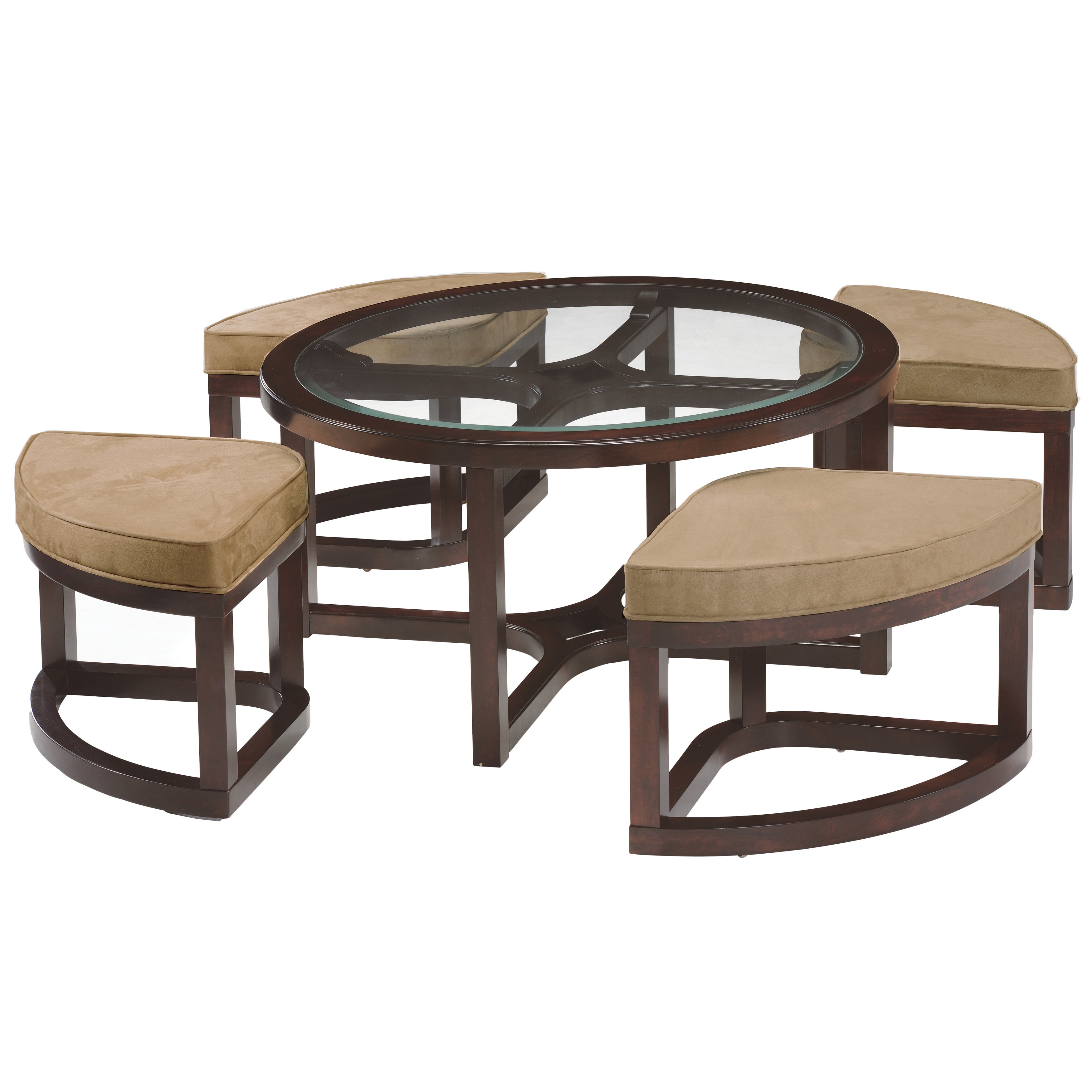 Attrayant Shop Juniper Mink Brown Wood Round Cocktail Table And 4 Piece Stools Set    Free Shipping Today   Overstock.com   8025157