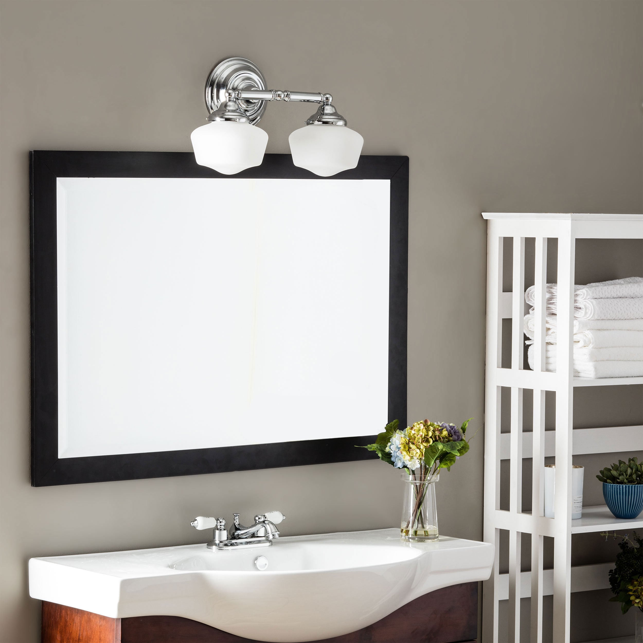 Academy 2 Light Chrome Wall Bath Vanity With Satin White Schoolhouse Gl Free Shipping Today 8025339