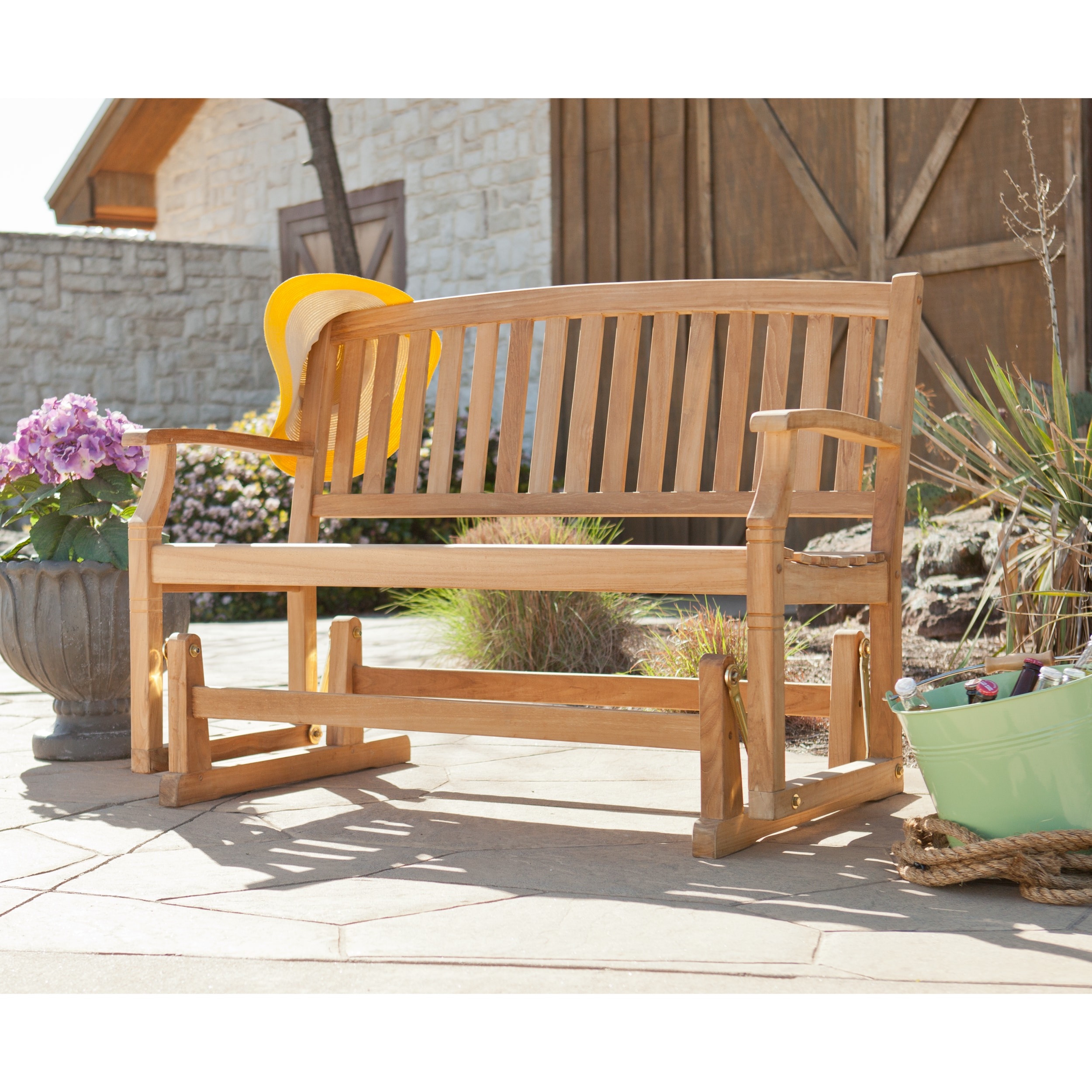 patio wooden storage on with benches glider bench hayneedle rocking for sale outdoor white