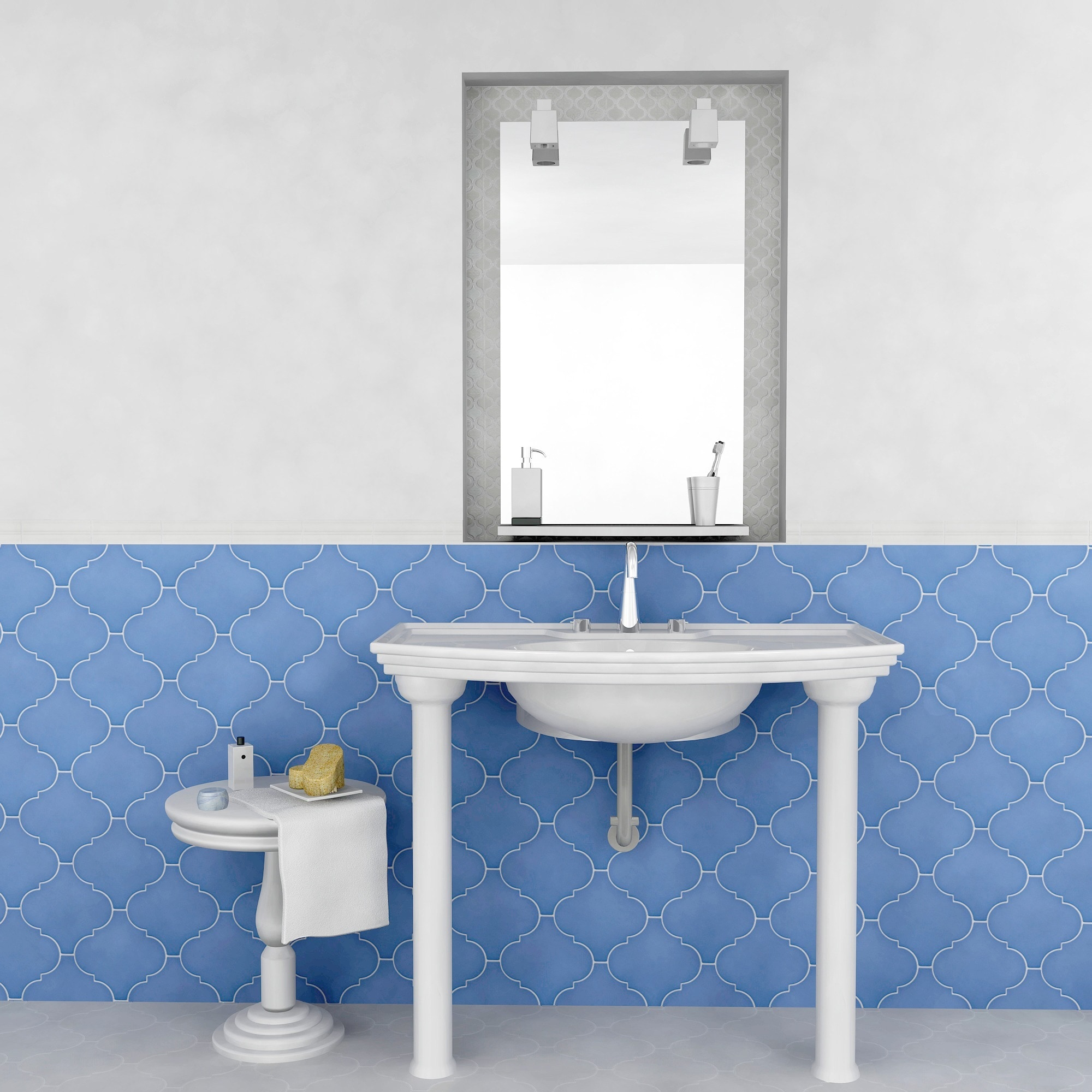 SomerTile 8x8-inch Morocco Provenzale Blue Porcelain Floor and Wall ...