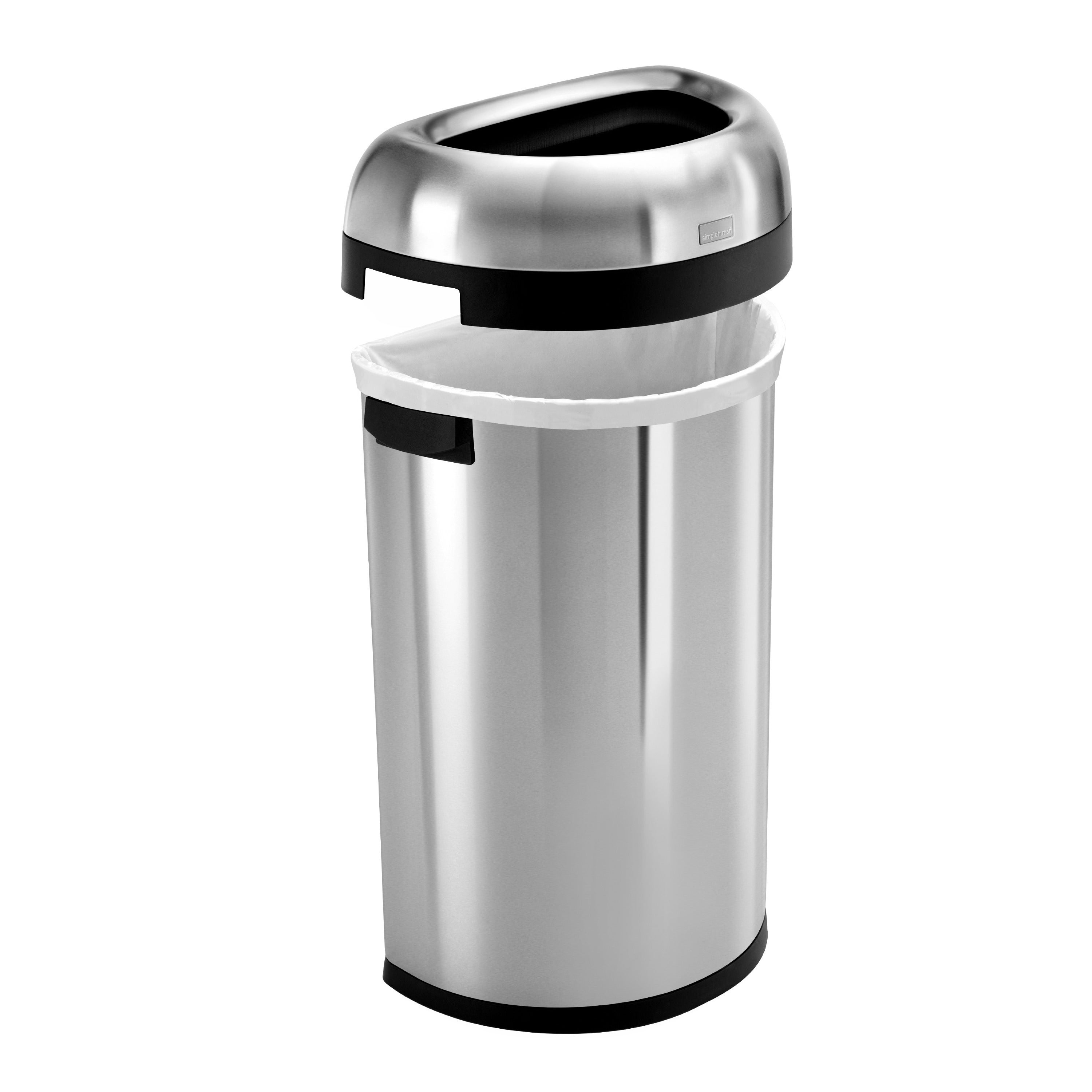 simplehuman Semi round Brushed Stainless Steel Open 16 gal Trash