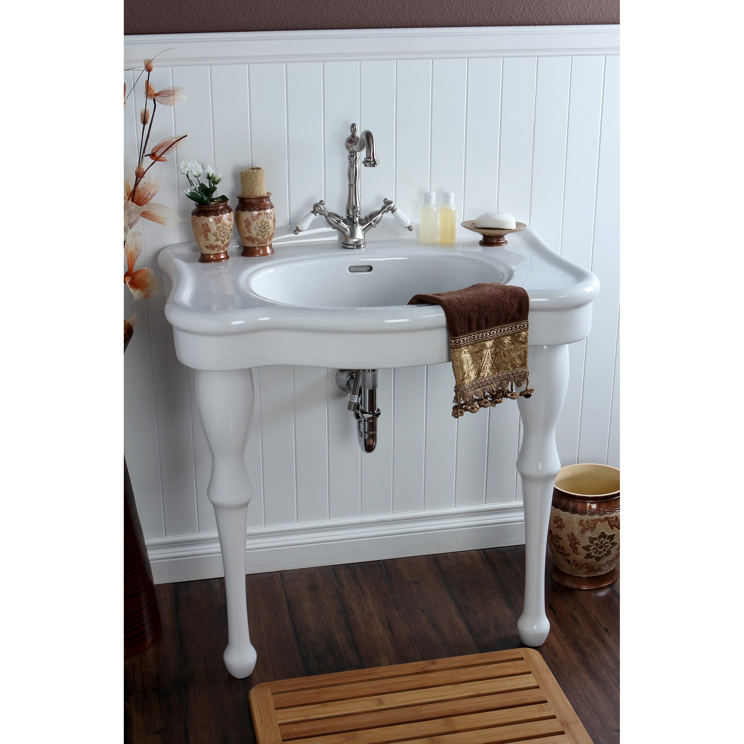 Shop vintage 32 inch for single hole wall mount pedestal bathroom sink vanity free shipping today overstock com 8036004