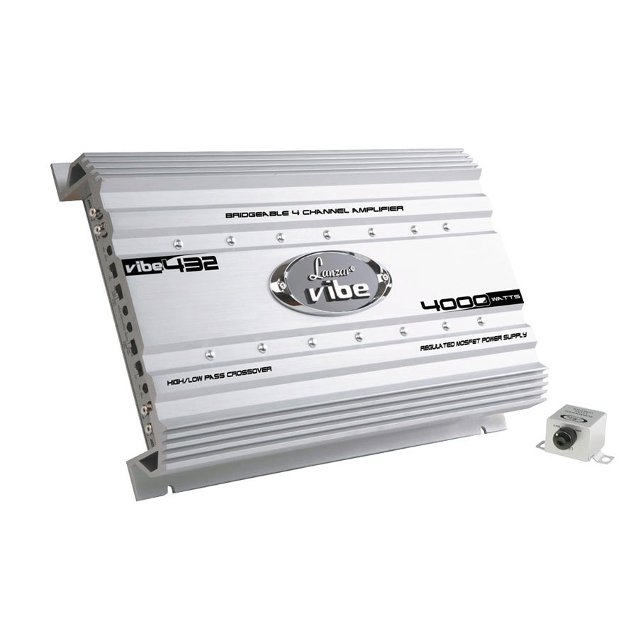 Shop Lanzar Vibe432 Vibe 4000 Watt 4 Channel Mosfet Amplifier 70 White Free Shipping Today 8036732