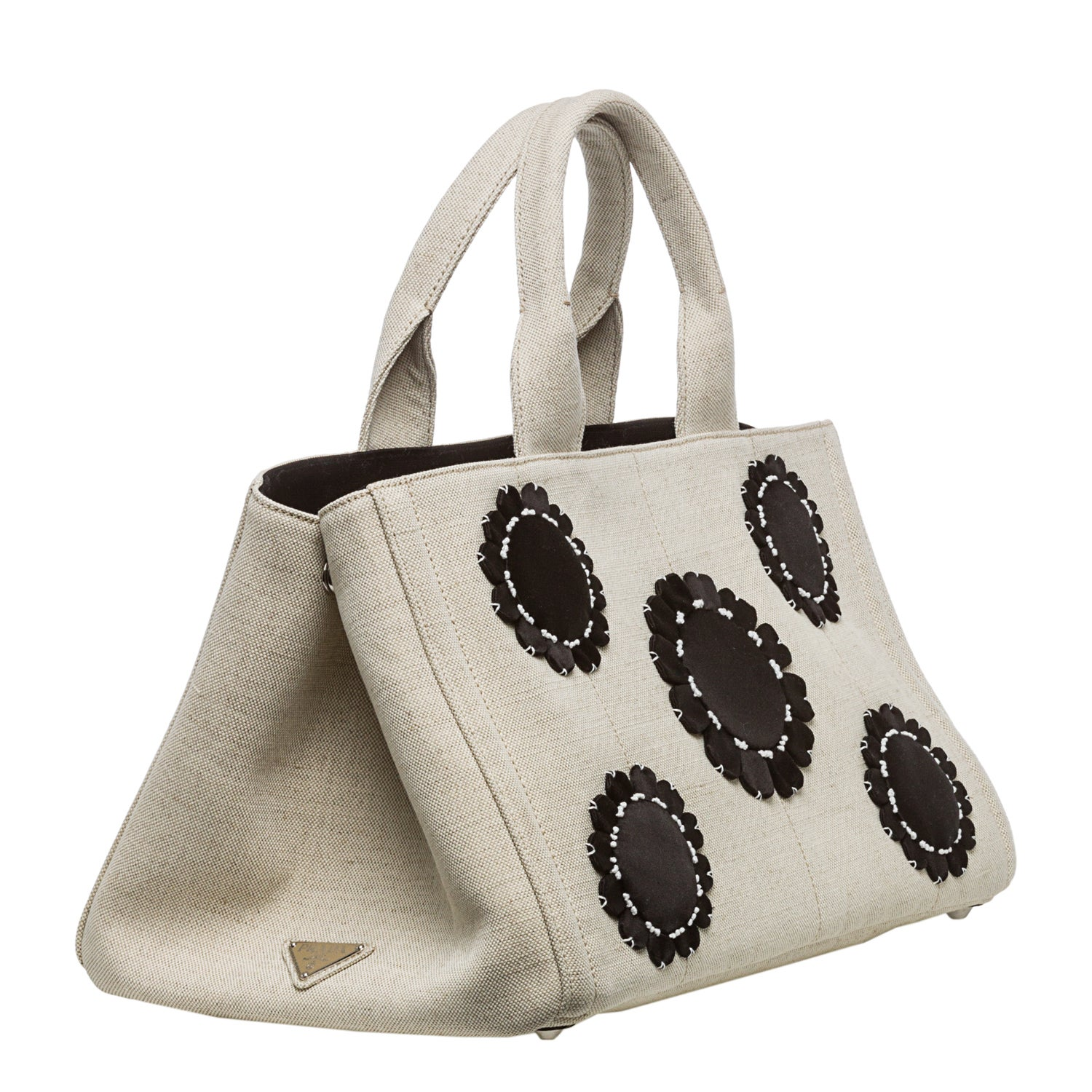 f47891a640ee amazon prada saffiano gardeners tote bag 49b88 53263  closeout shop natural  black prada misollino floral gardners tote free shipping today overstock  8038425 ...