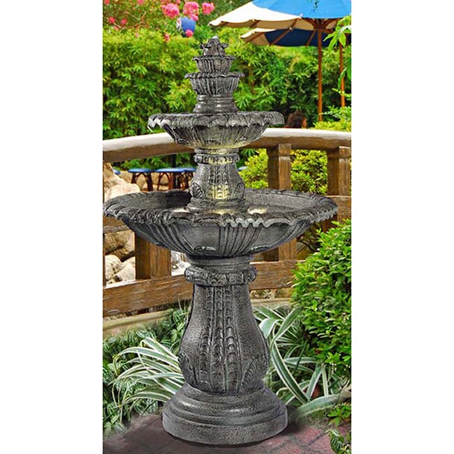 Attirant Solerno 57 Inch Lighted Outdoor Fountain   Free Shipping Today    Overstock.com   15400740