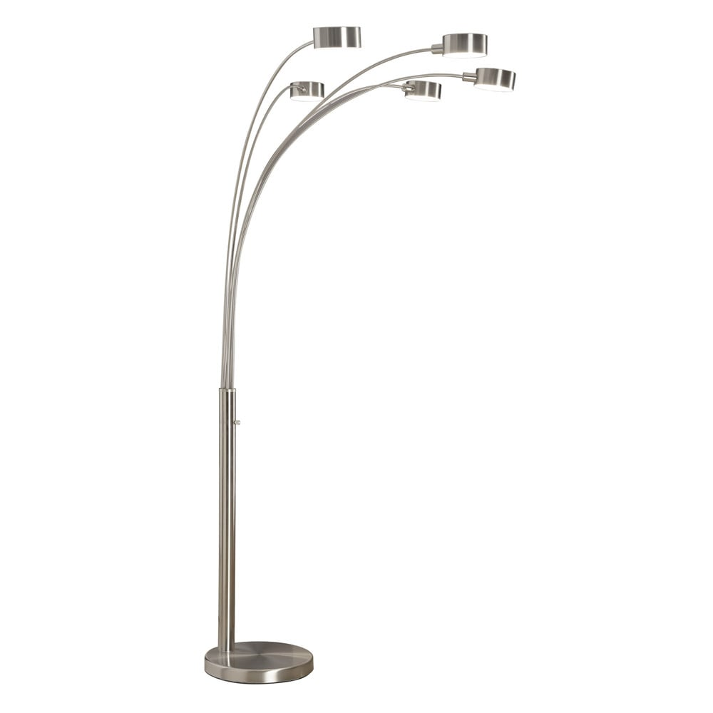 Strick U0026 Bolton Charlie Modern Arched 88 Inch Brushed Steel 5 Light Floor  Lamp   Free Shipping Today   Overstock.com   15403029
