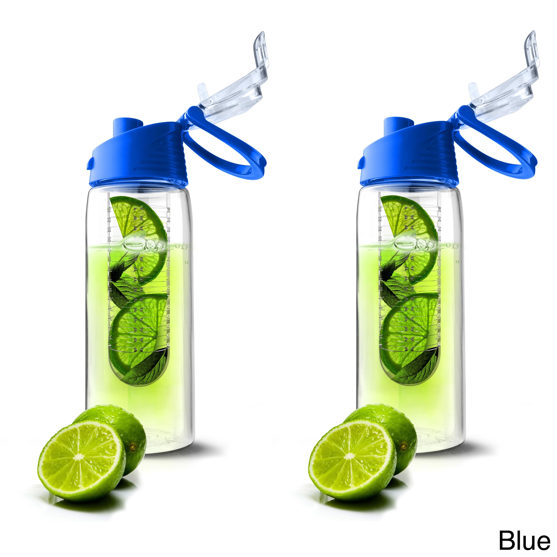... Shop Pure Flavour 2 Go Tritan Plastic Water Bottles with Built in Fruit Diffuser Set of