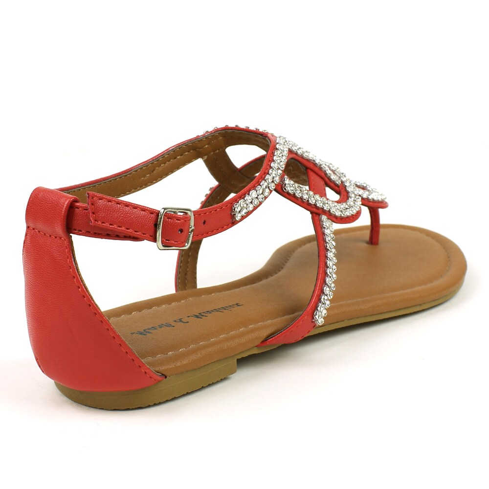 f71ac9a4c9f1 Shop Mark   Maddux Women s  Paul-06  Red Rhinestones Flat Sandals - Free  Shipping On Orders Over  45 - Overstock - 8046973