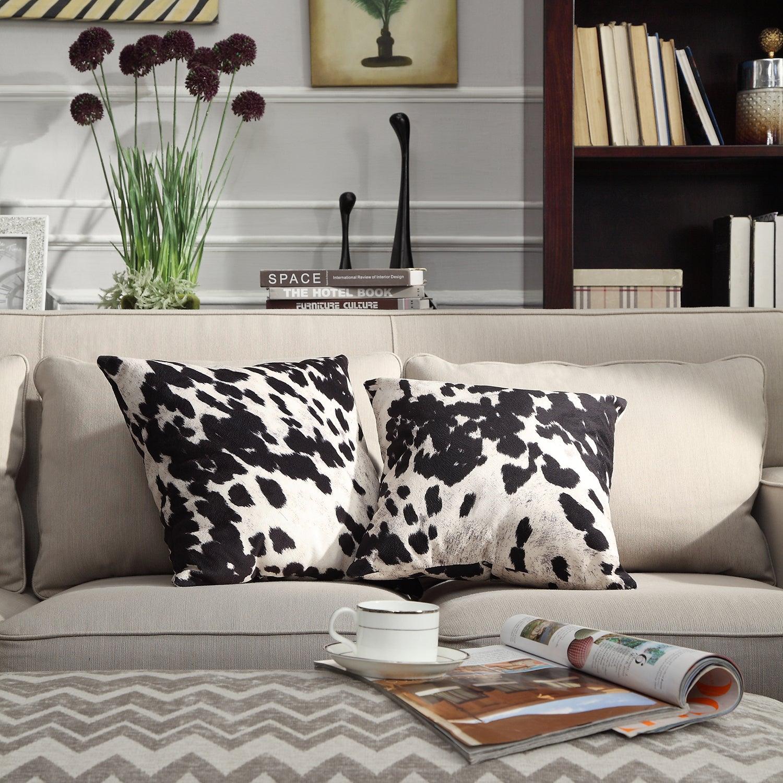 Shop Black And White Faux Cow Hide Print Decorative Pillows Set Of
