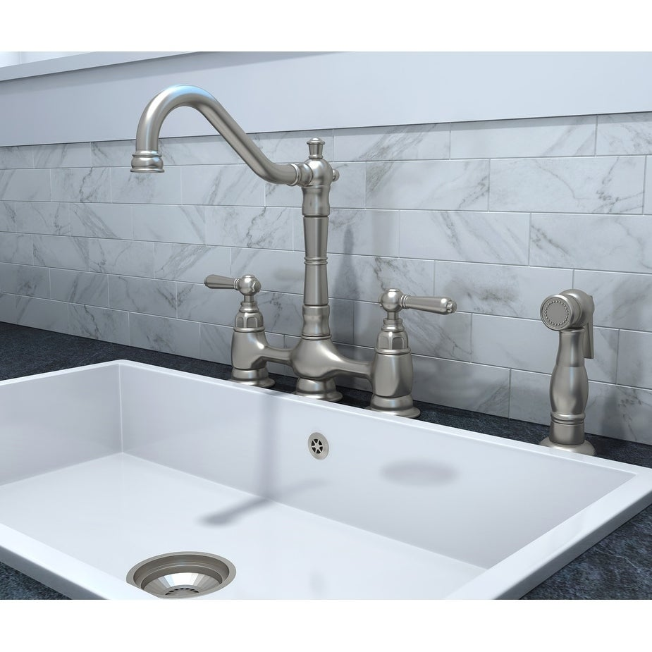 Shop Americana 2 Handle Kitchen Bridge Faucet with Spray - Free ...
