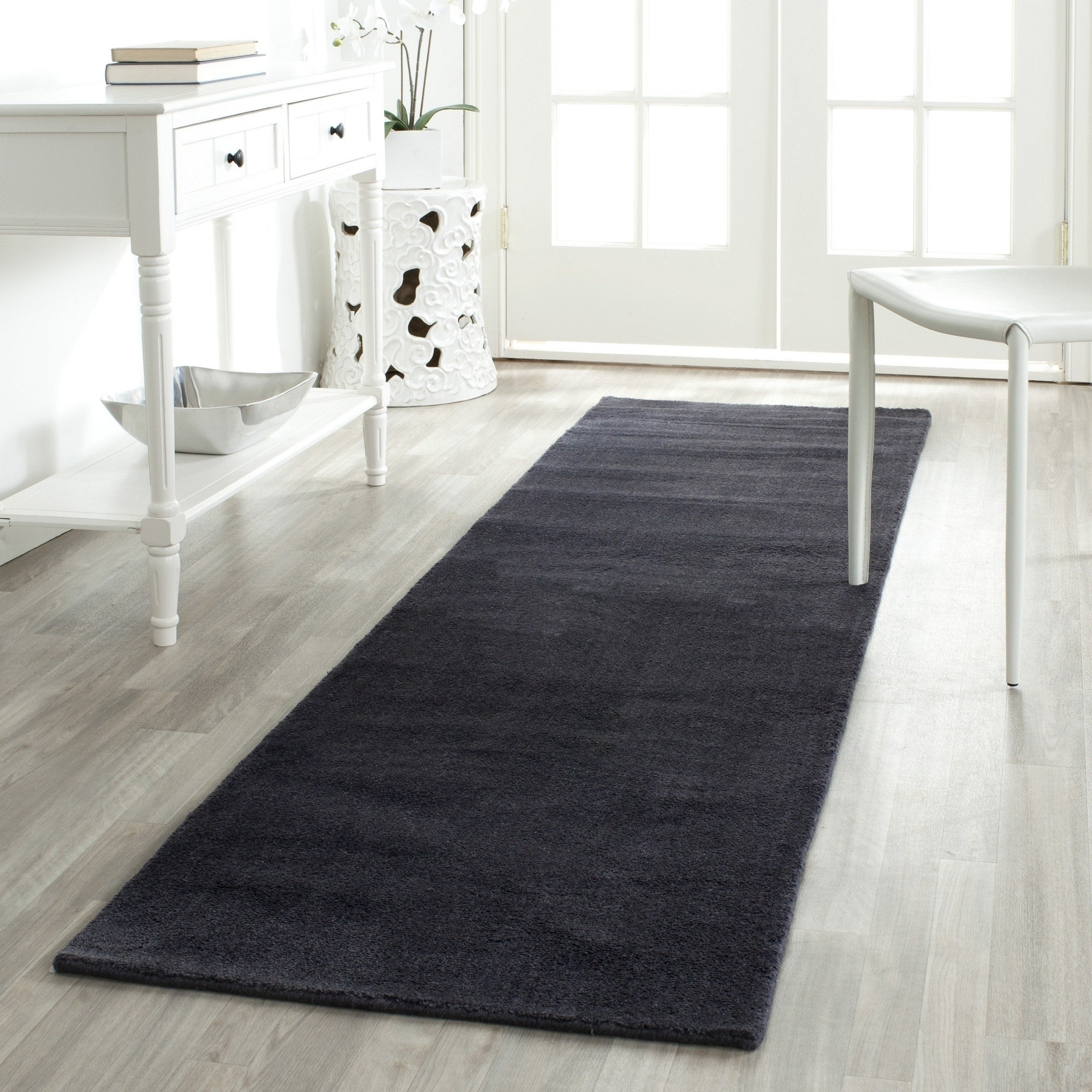 Safavieh Handmade Himalaya Solid Black Wool Rug 2 3 X 6 On Free Shipping Today 8059141