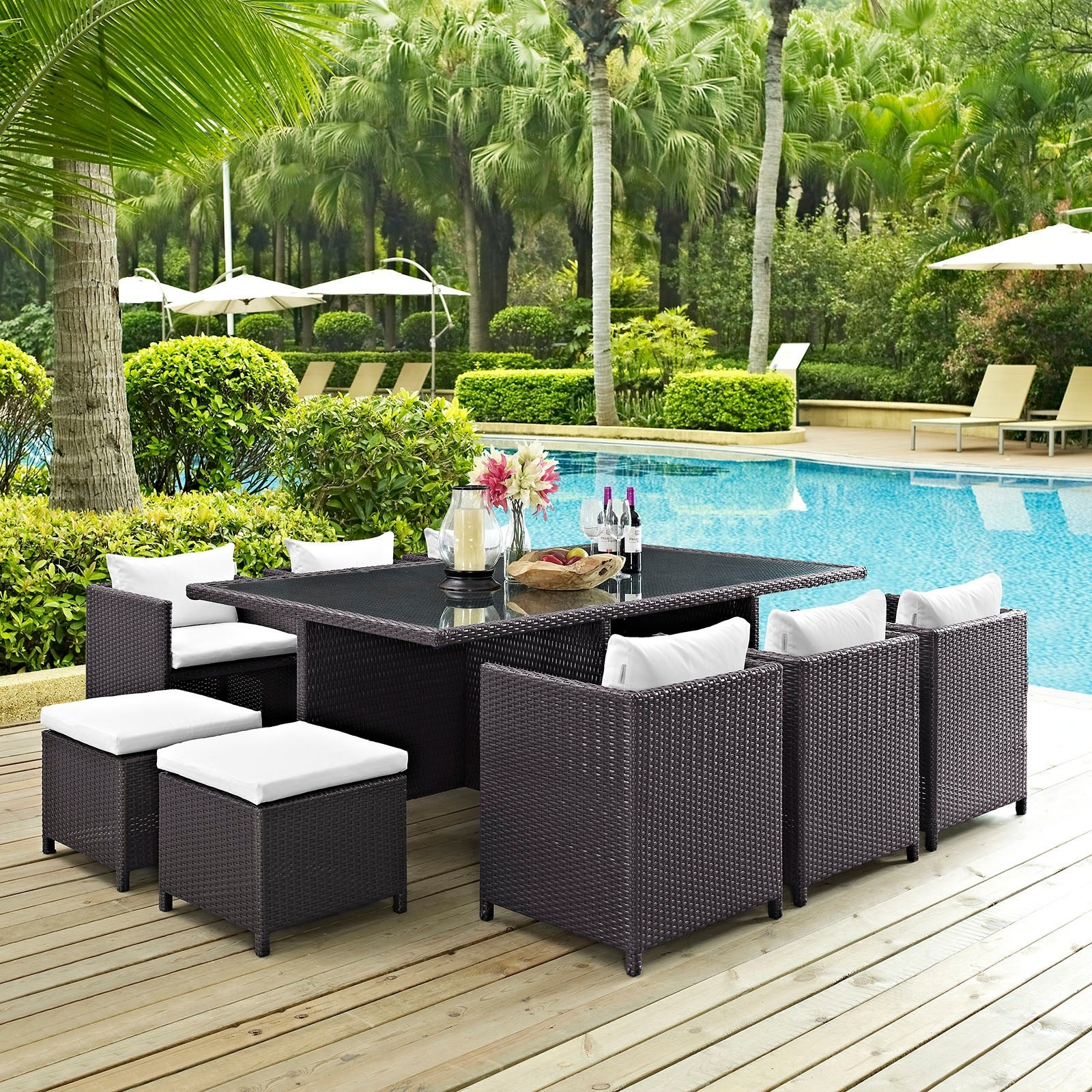 Reversal 11 piece Espresso Outdoor Wicker Patio Dining Set Free
