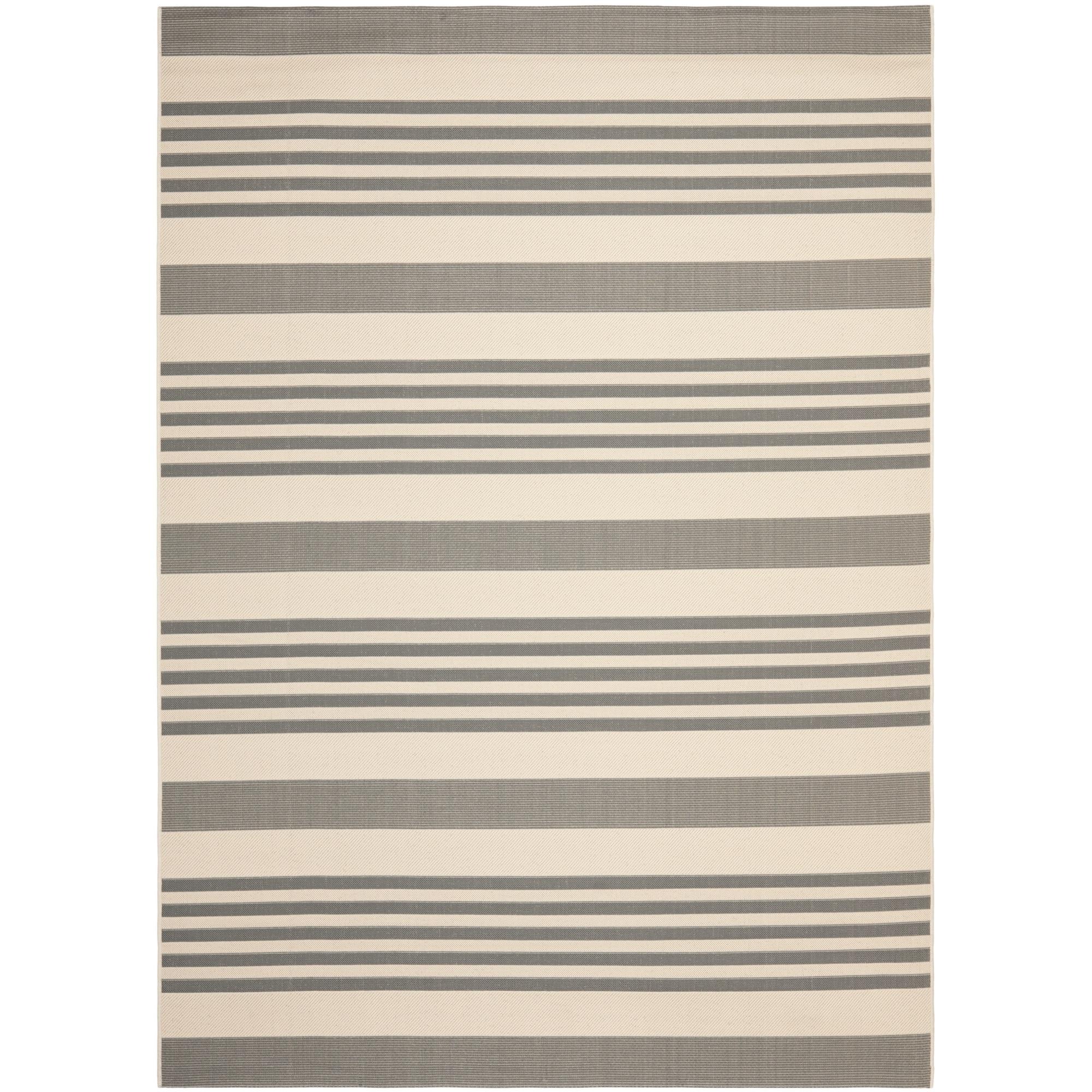 Safavieh Courtyard Stripe Grey Bone Indoor Outdoor Rug 9 x 12