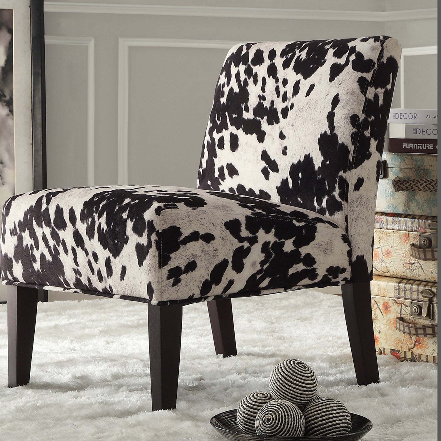 Black And White Faux Cow Hide Fabric Accent Chair By INSPIRE Q Bold   Free  Shipping Today   Overstock   15416949