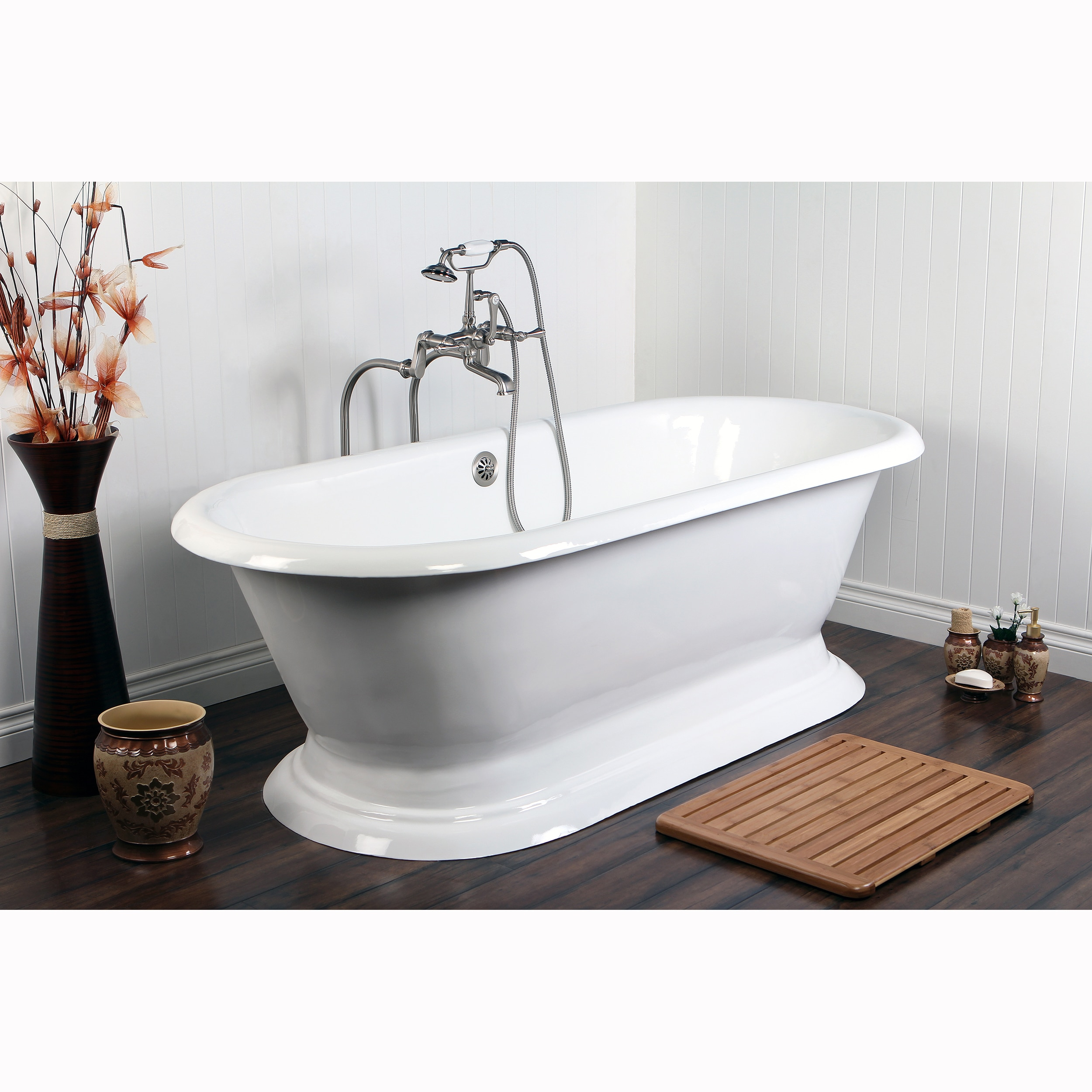 Shop Double-ended Cast Iron 72-inch Pedestal Bathtub - Free Shipping ...