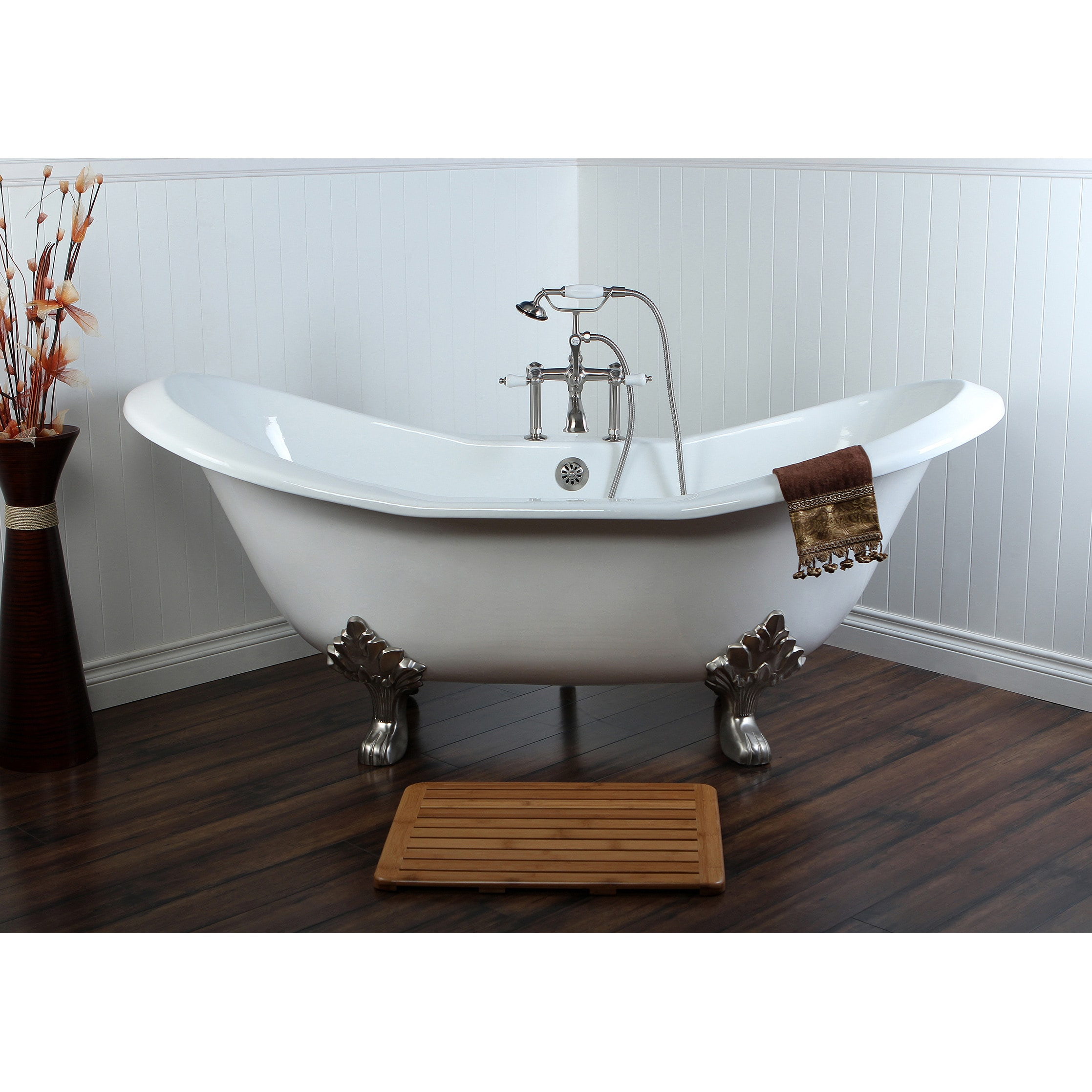 Shop Double Slipper 72-inch Cast Iron Clawfoot Bathtub - Free ...