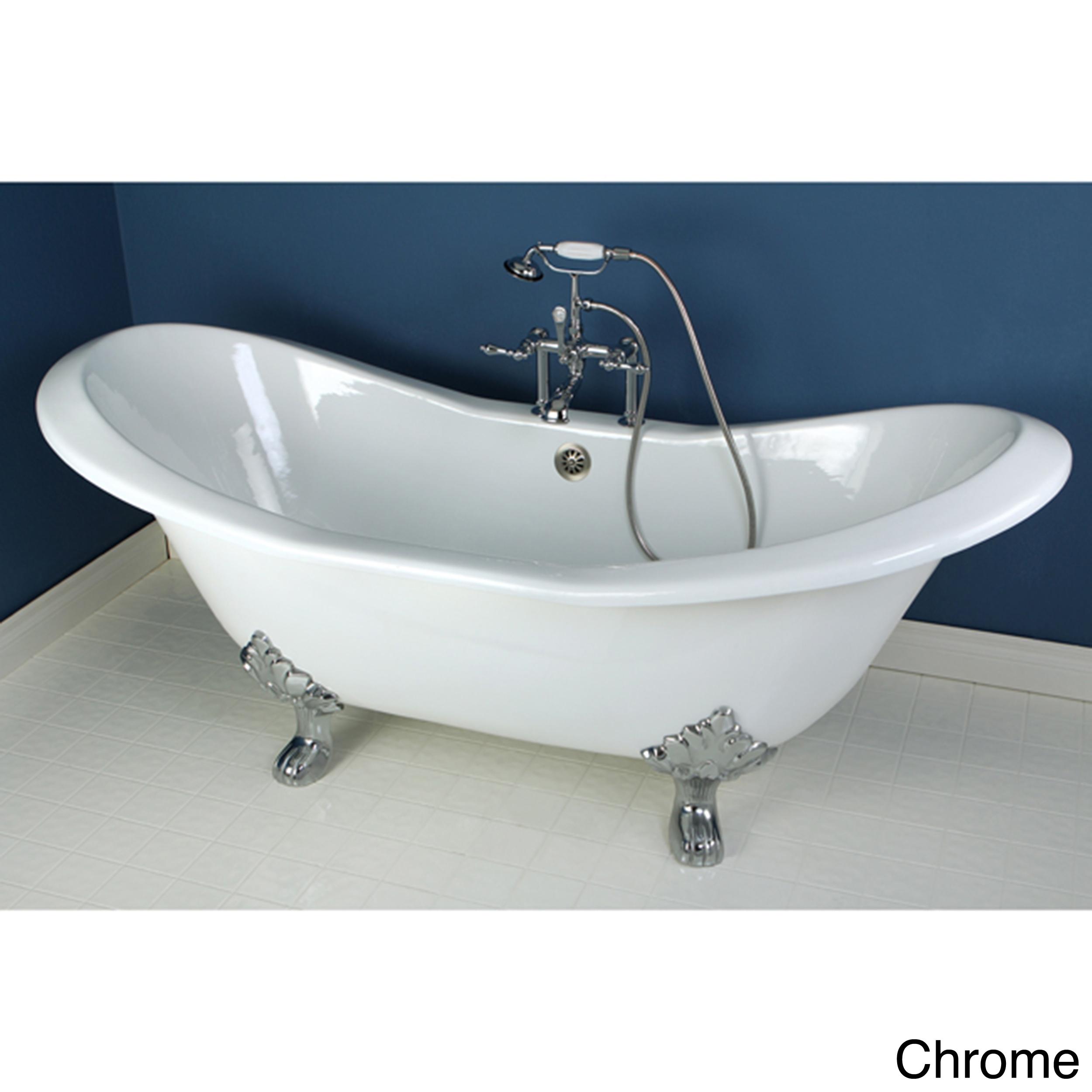 Shop Double Slipper 72-inch Cast Iron Clawfoot Bathtub - Free ...