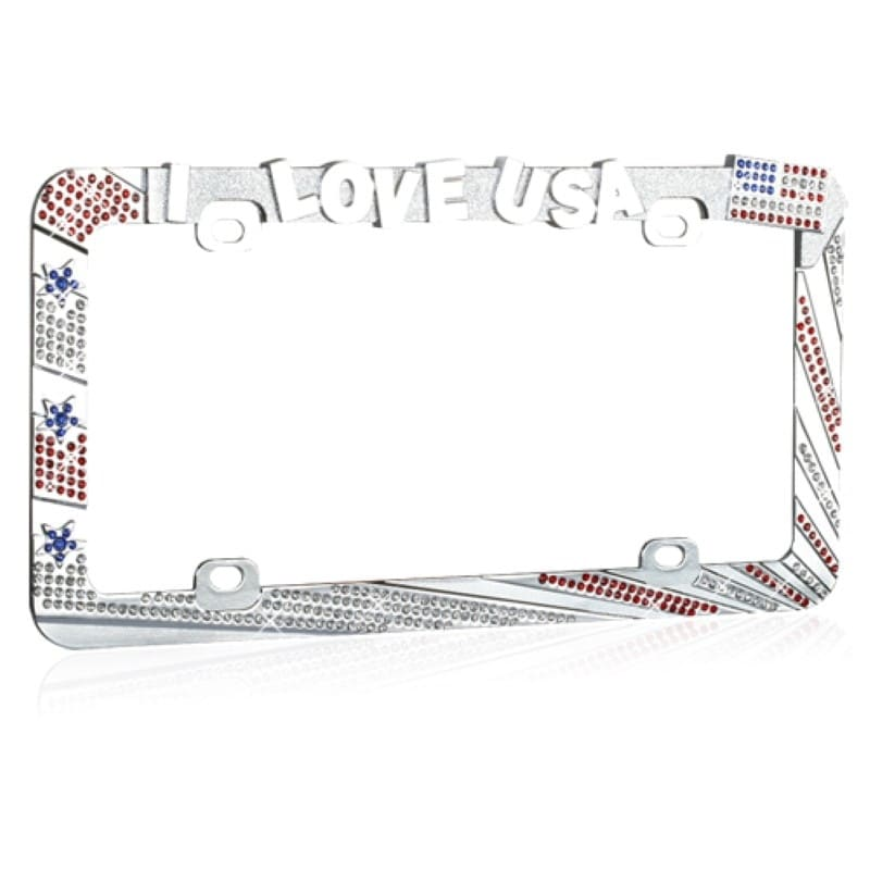 Shop INSTEN I LOVE USA with Red/ White Crystals License Plate Frame ...