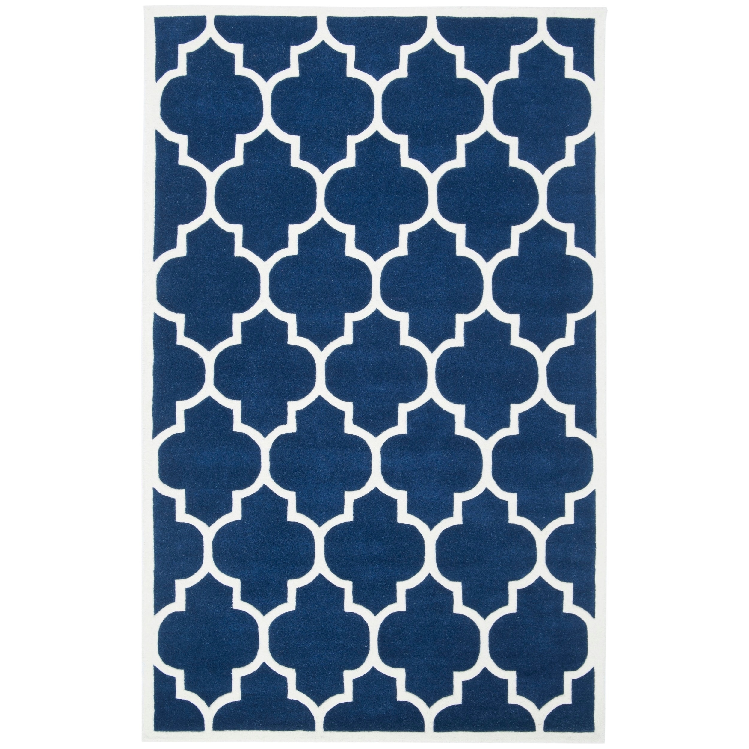 Safavieh Handmade Moroccan Dark Blue Wool Rug With Thick Pile 4 X 6