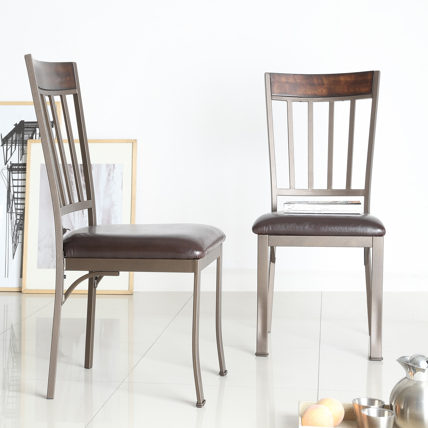 Keyaki antique bronze finish birch accent dining chairs set of 2 by inspire q classic