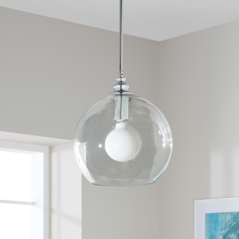 Strick bolton uptown clear globe 1 light chrome pendant