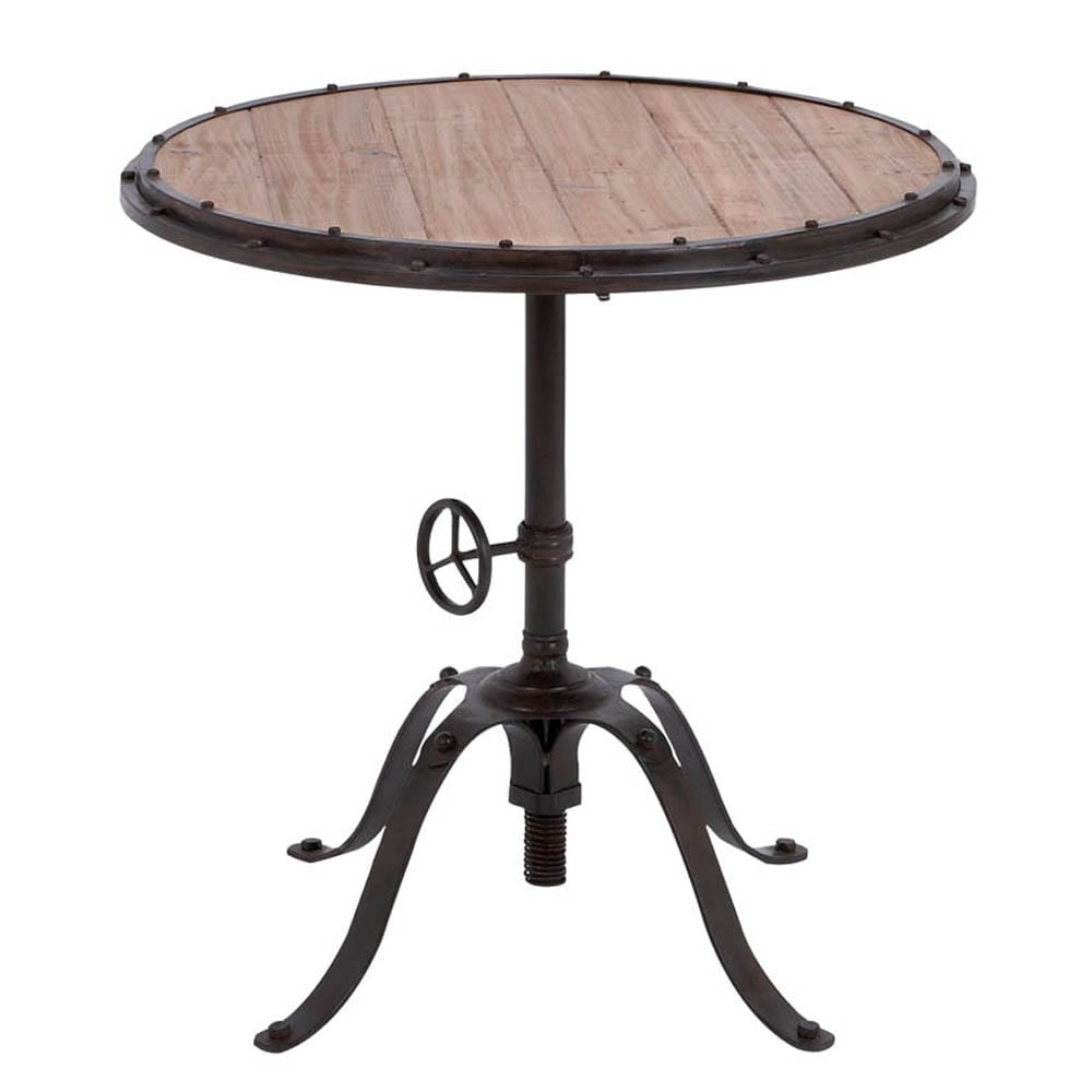 Shop casa cortes handcrafted industrial round accent table free shipping today overstock com 8089607