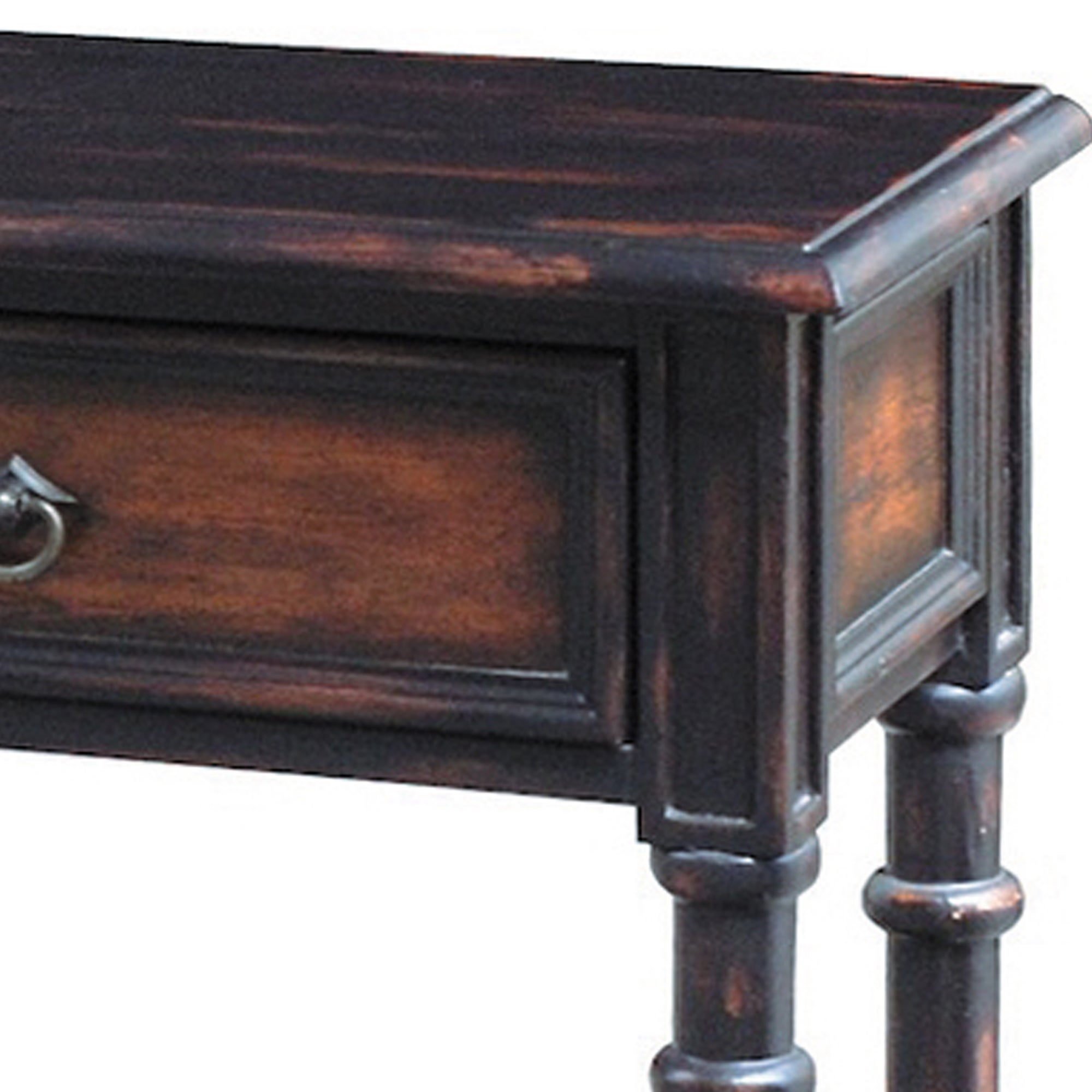 Shop Hand Painted Distressed Black/ Brown Finish Accent Console Table   On  Sale   Free Shipping Today   Overstock.com   8089793