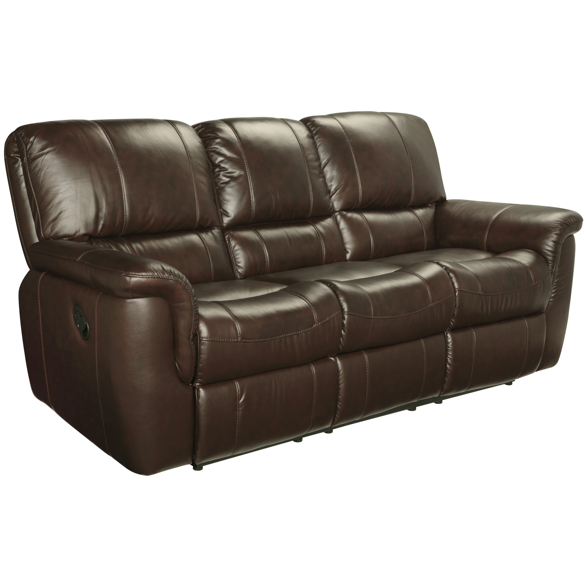 Ethan Chestnut Brown Leather Reclining Sofa Loveseat And Recliner  ~ Brown Leather Reclining Sofa