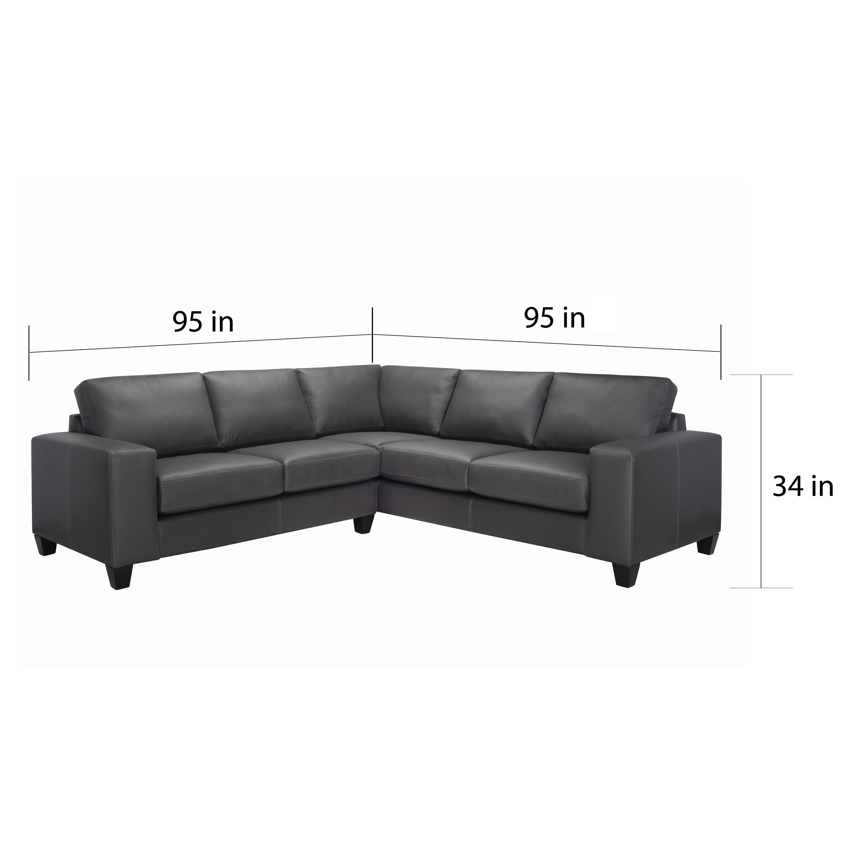 Merveilleux Shop Paulina Grey Italian Leather Sectional Sofa   Free Shipping Today    Overstock.com   8089927